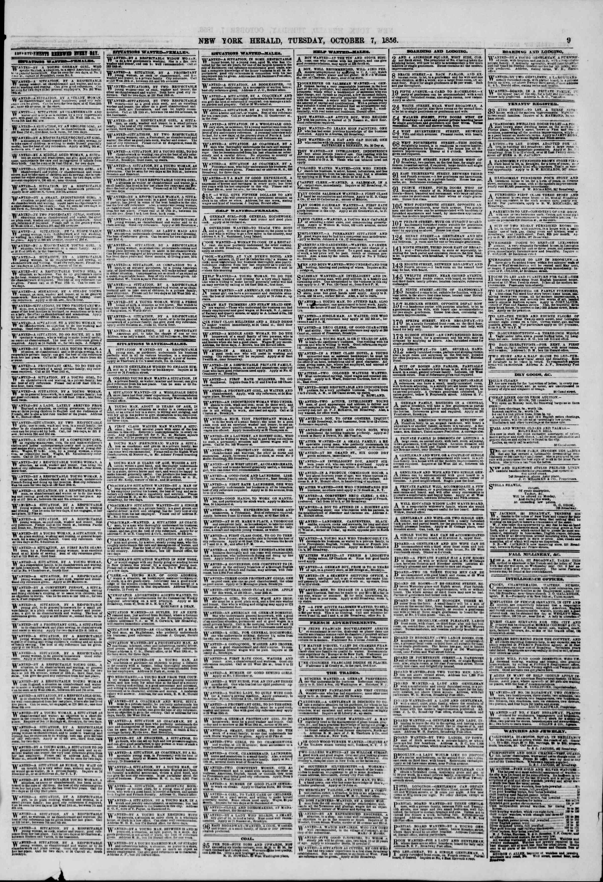 Newspaper of The New York Herald dated October 7, 1856 Page 11