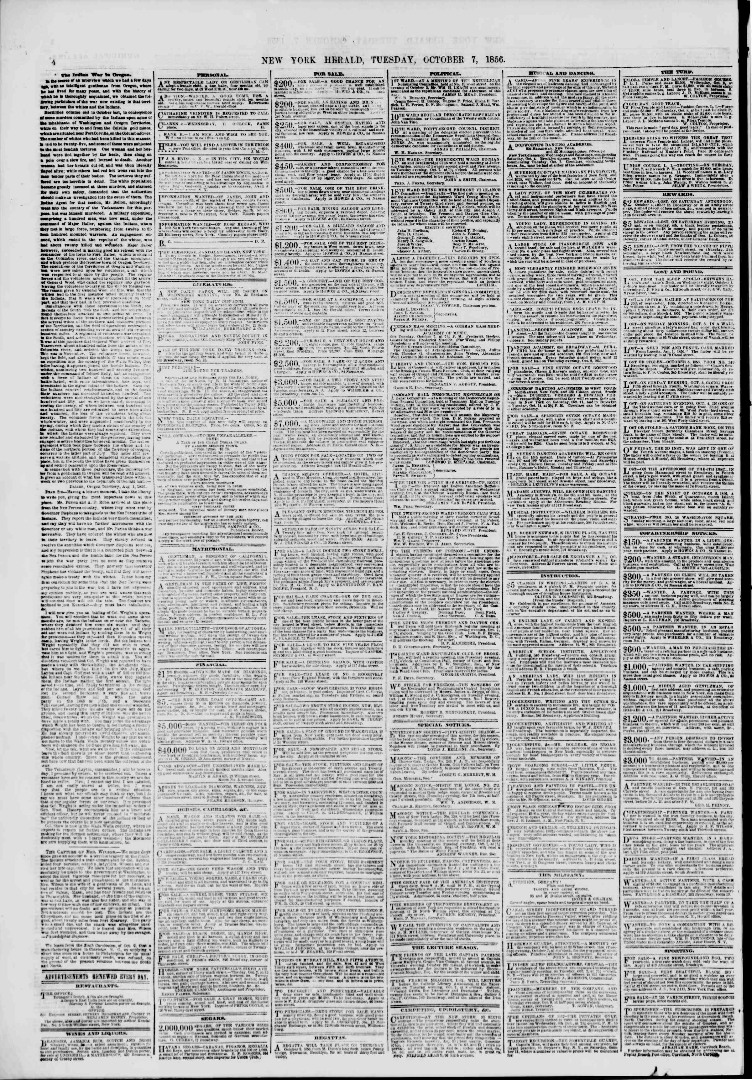 Newspaper of The New York Herald dated October 7, 1856 Page 6