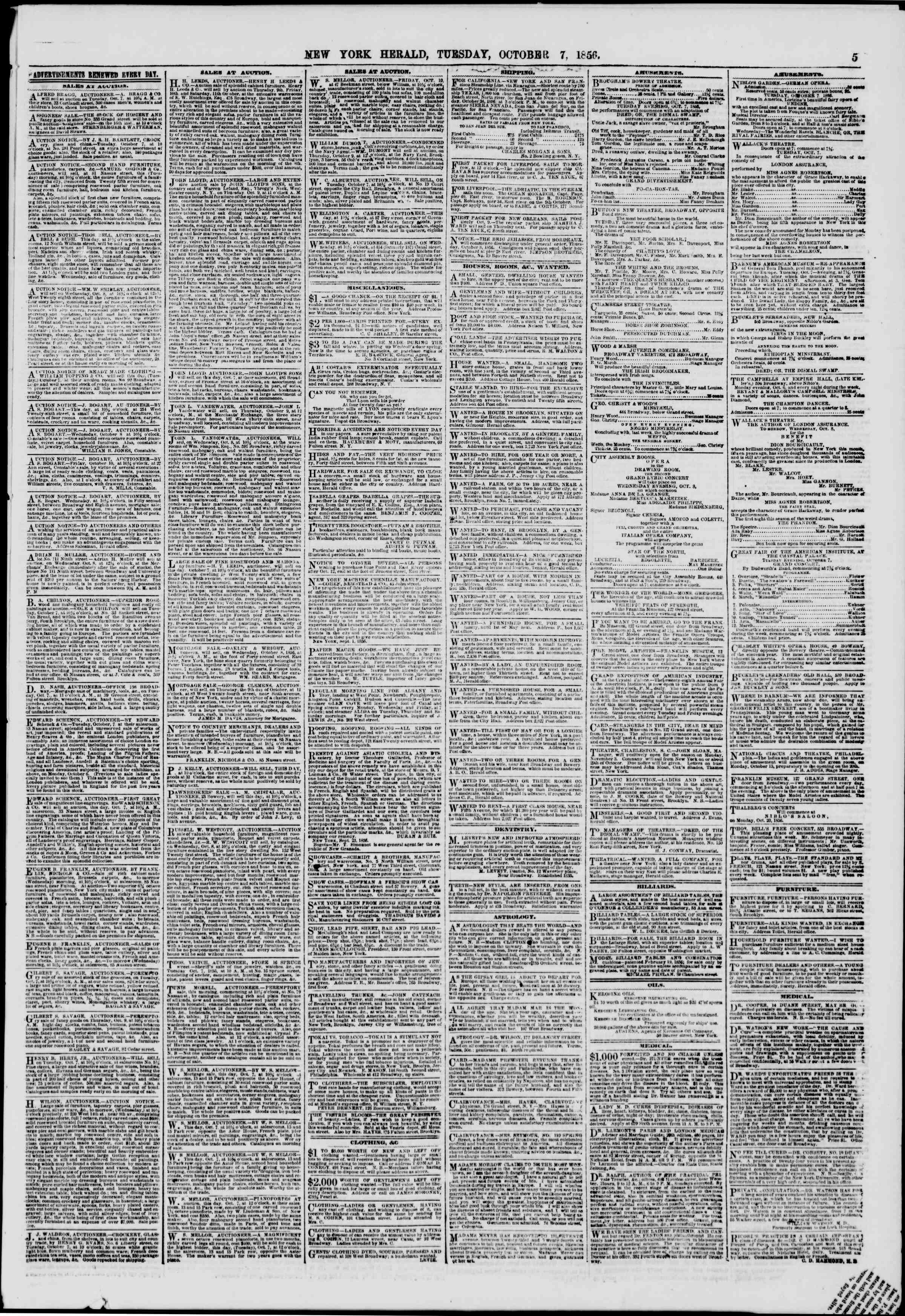 Newspaper of The New York Herald dated October 7, 1856 Page 7
