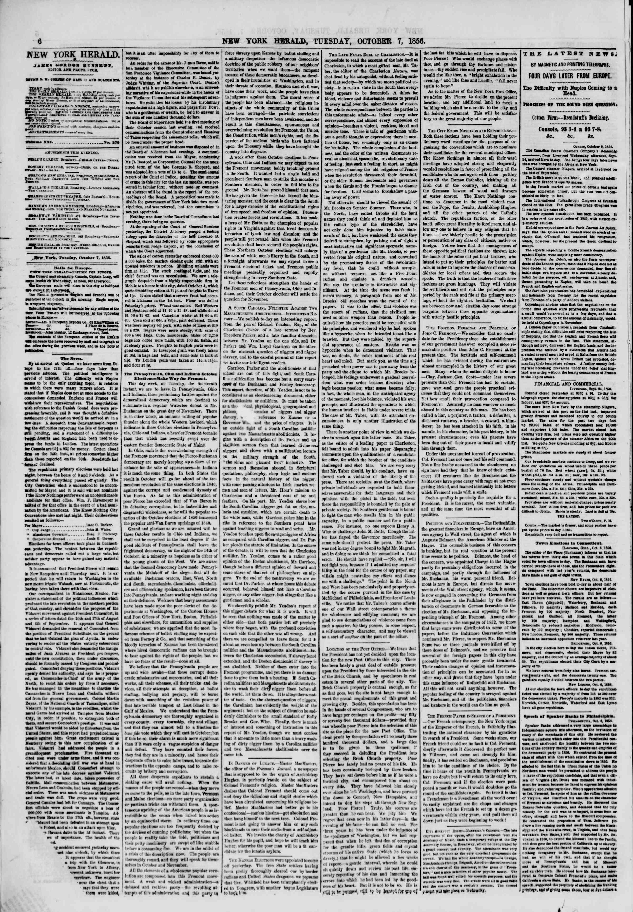 Newspaper of The New York Herald dated October 7, 1856 Page 8