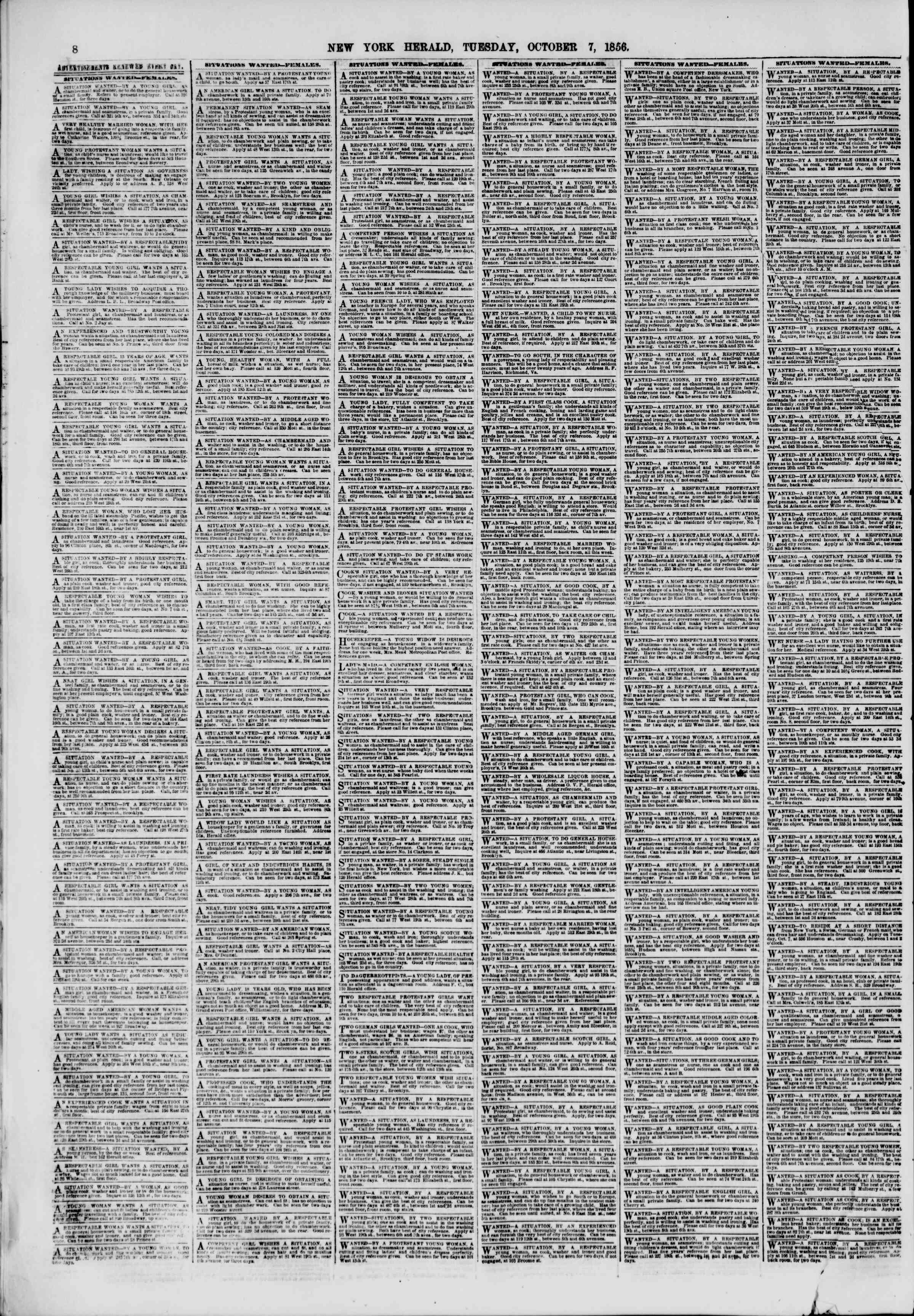 Newspaper of The New York Herald dated October 7, 1856 Page 10