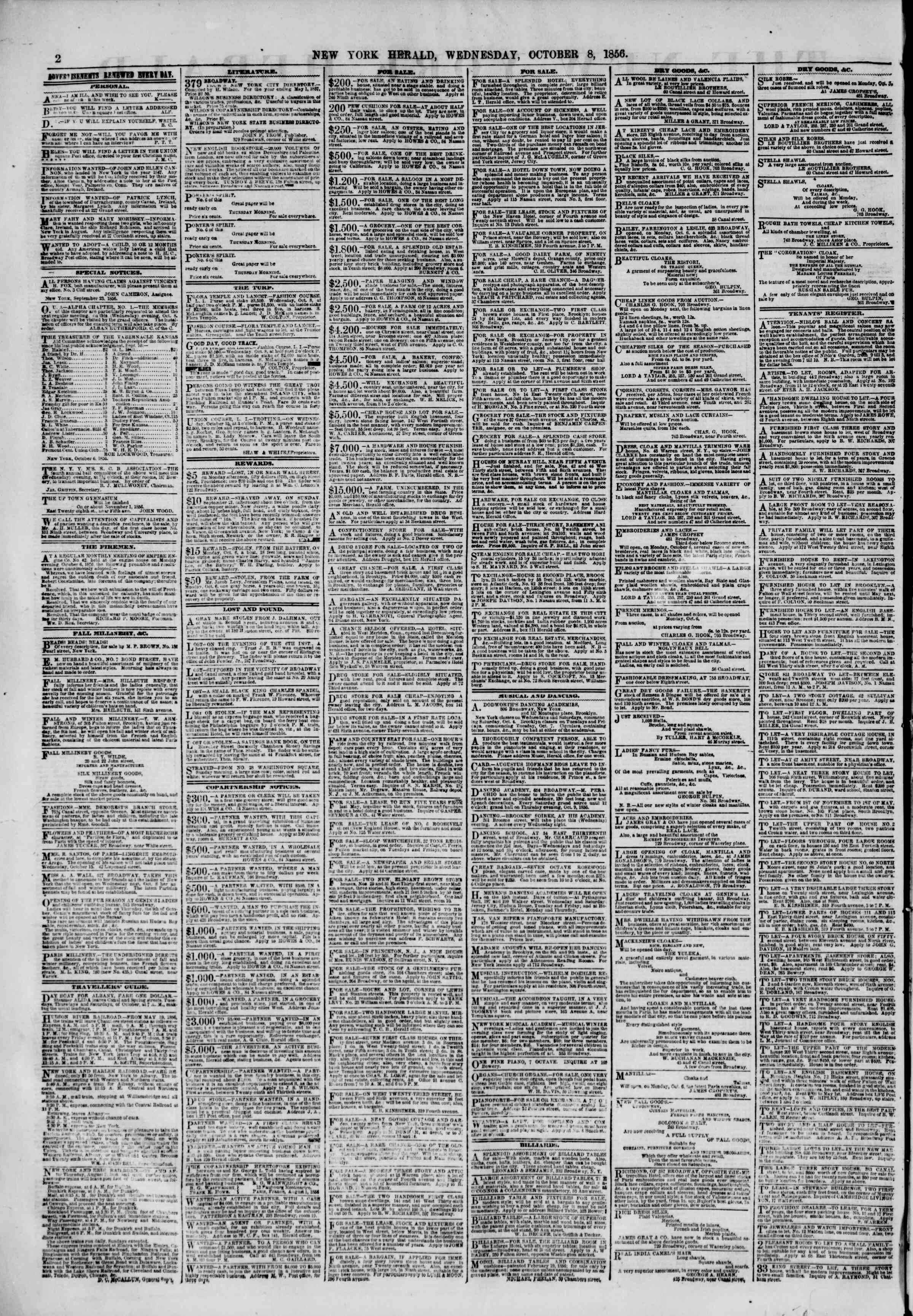 Newspaper of The New York Herald dated 8 Ekim 1856 Page 2