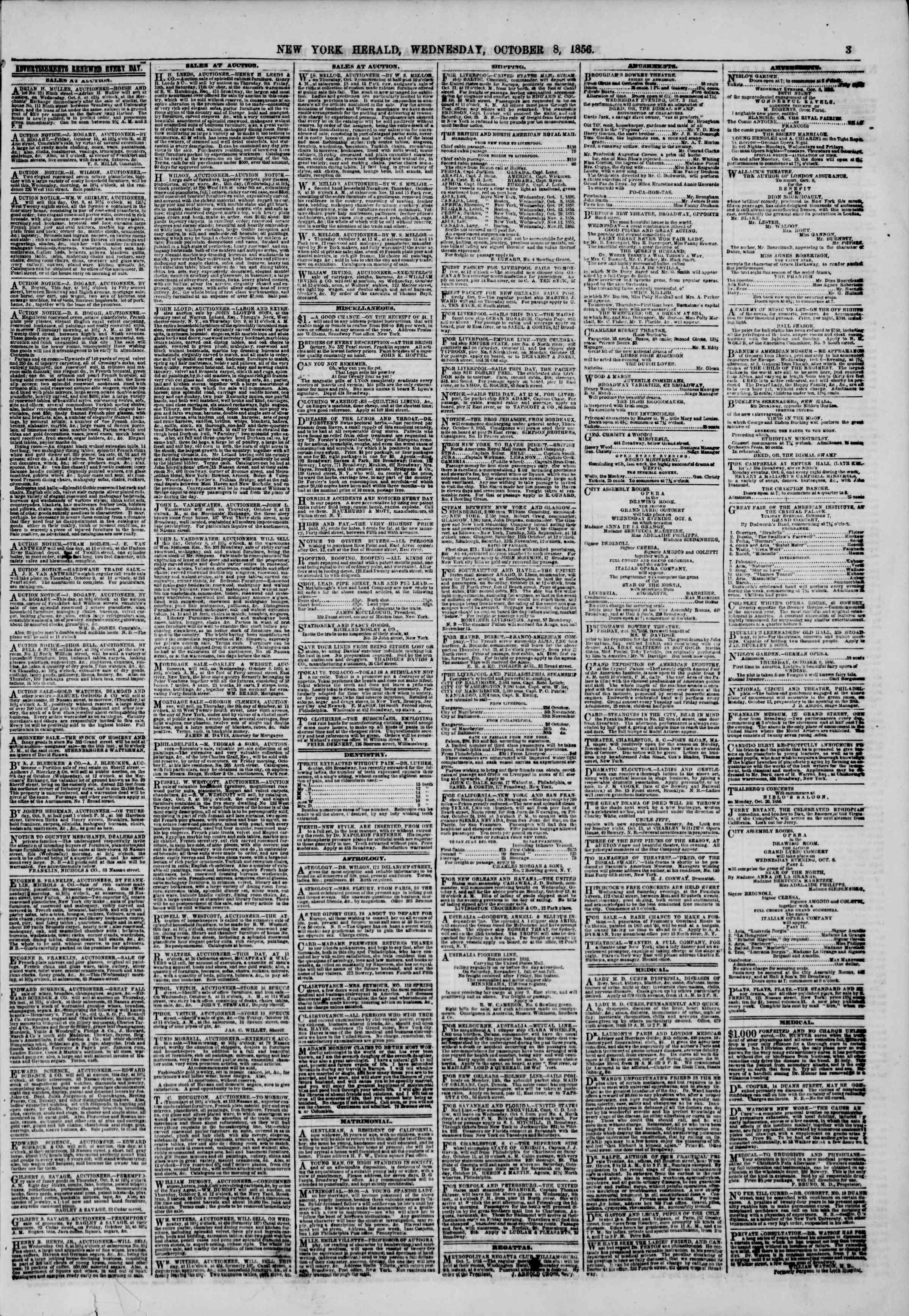 Newspaper of The New York Herald dated October 8, 1856 Page 3