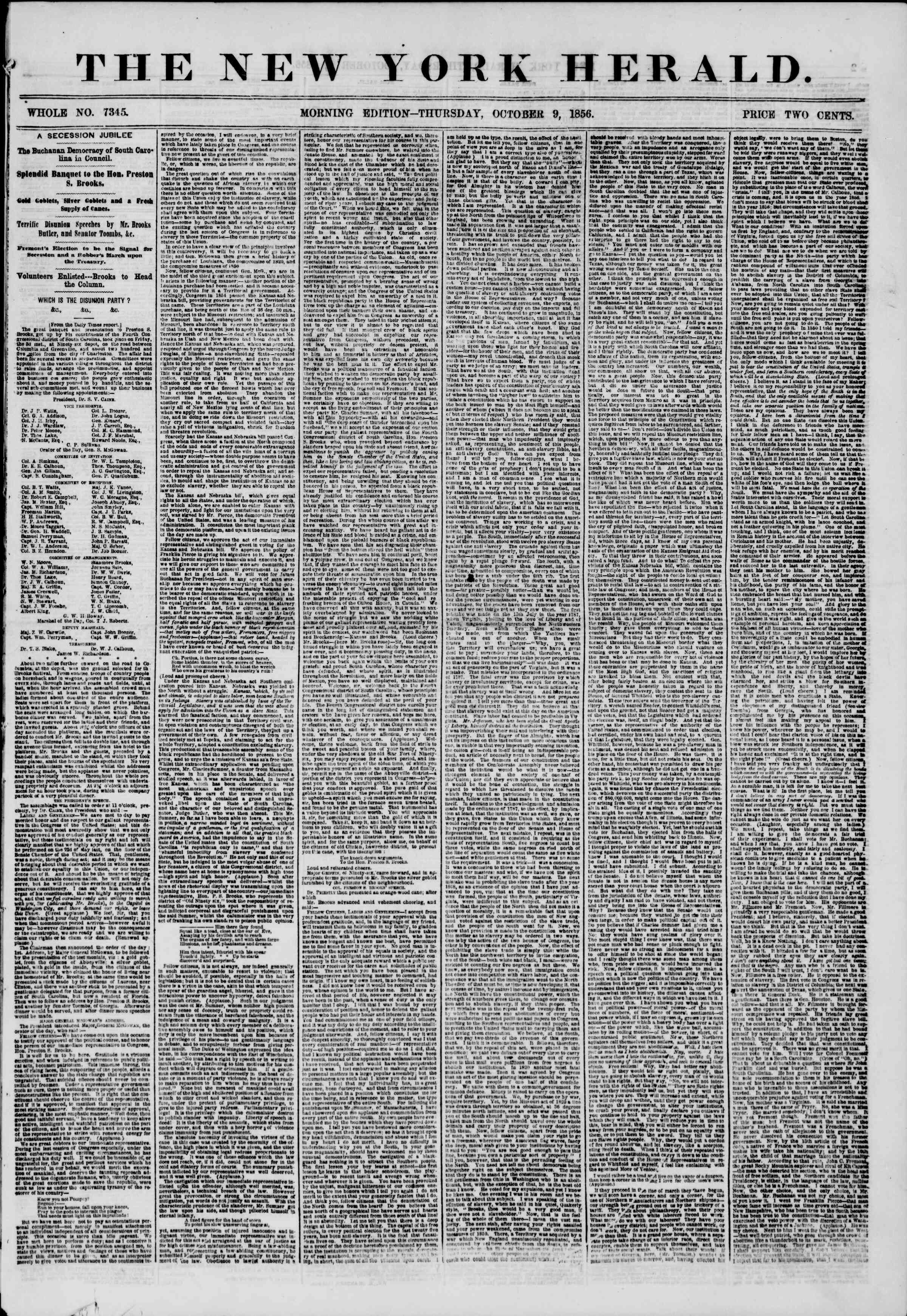 Newspaper of The New York Herald dated October 9, 1856 Page 1