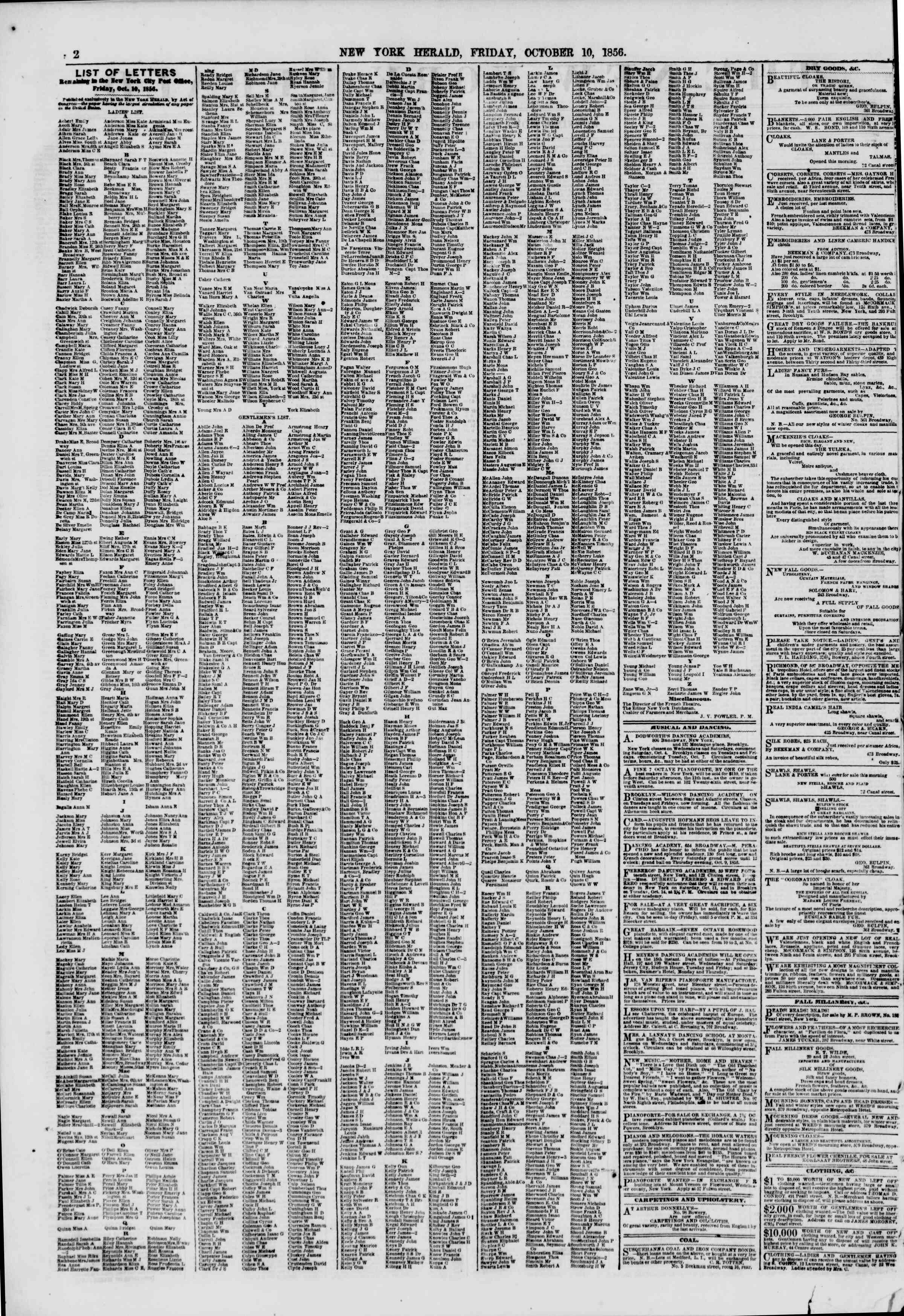 Newspaper of The New York Herald dated October 10, 1856 Page 2