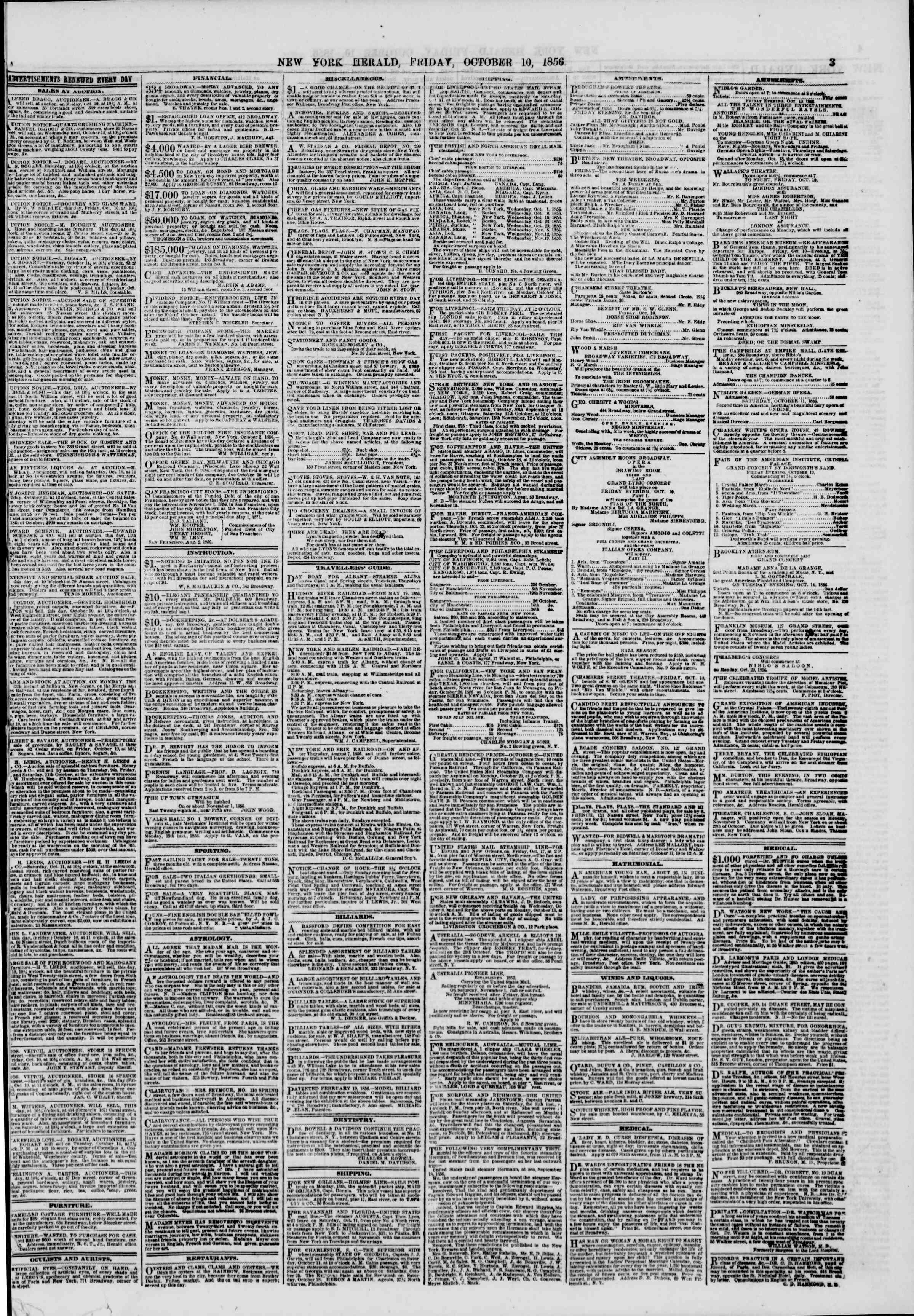 Newspaper of The New York Herald dated October 10, 1856 Page 3