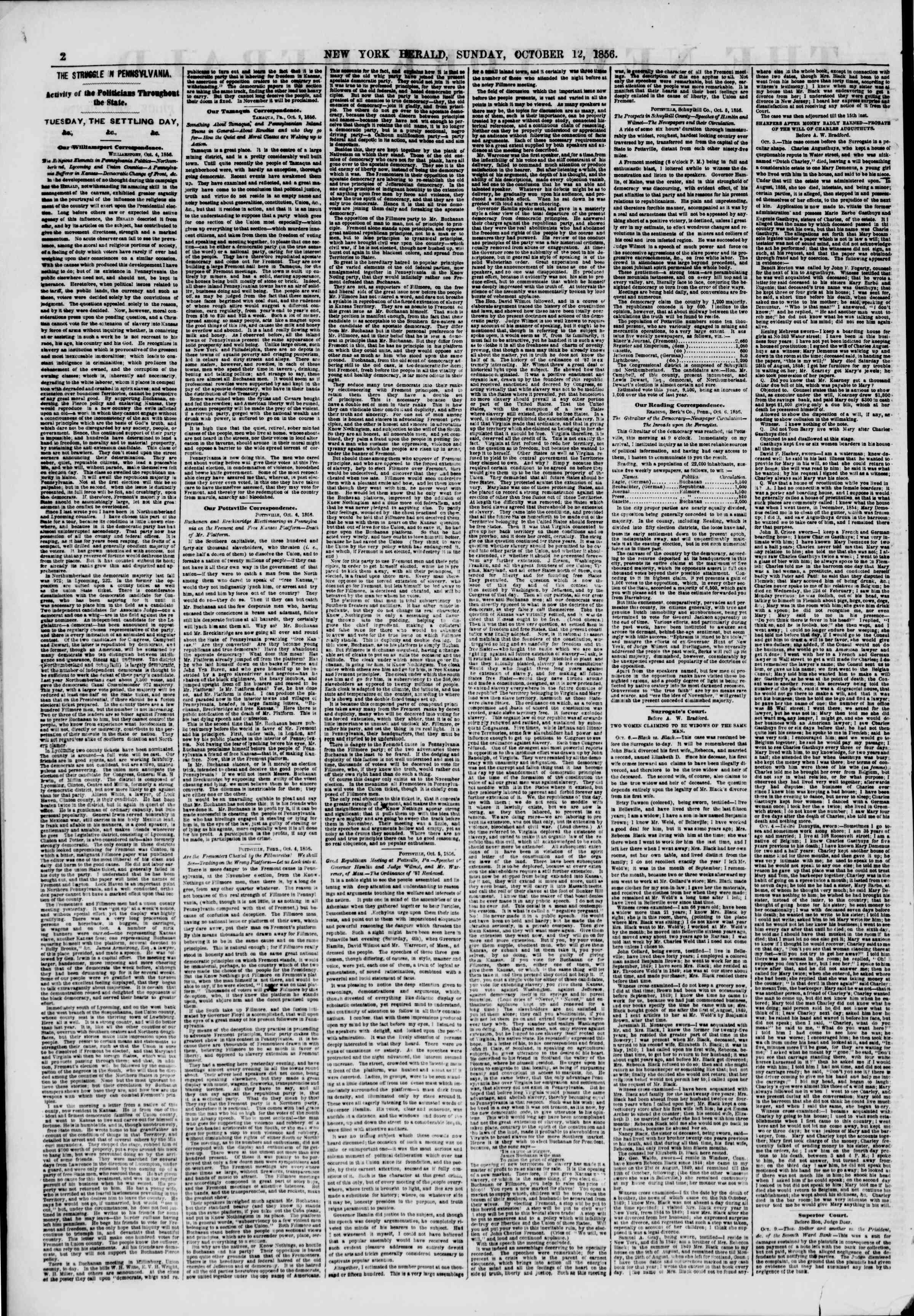 12 Ekim 1856 tarihli The New York Herald Gazetesi Sayfa 2