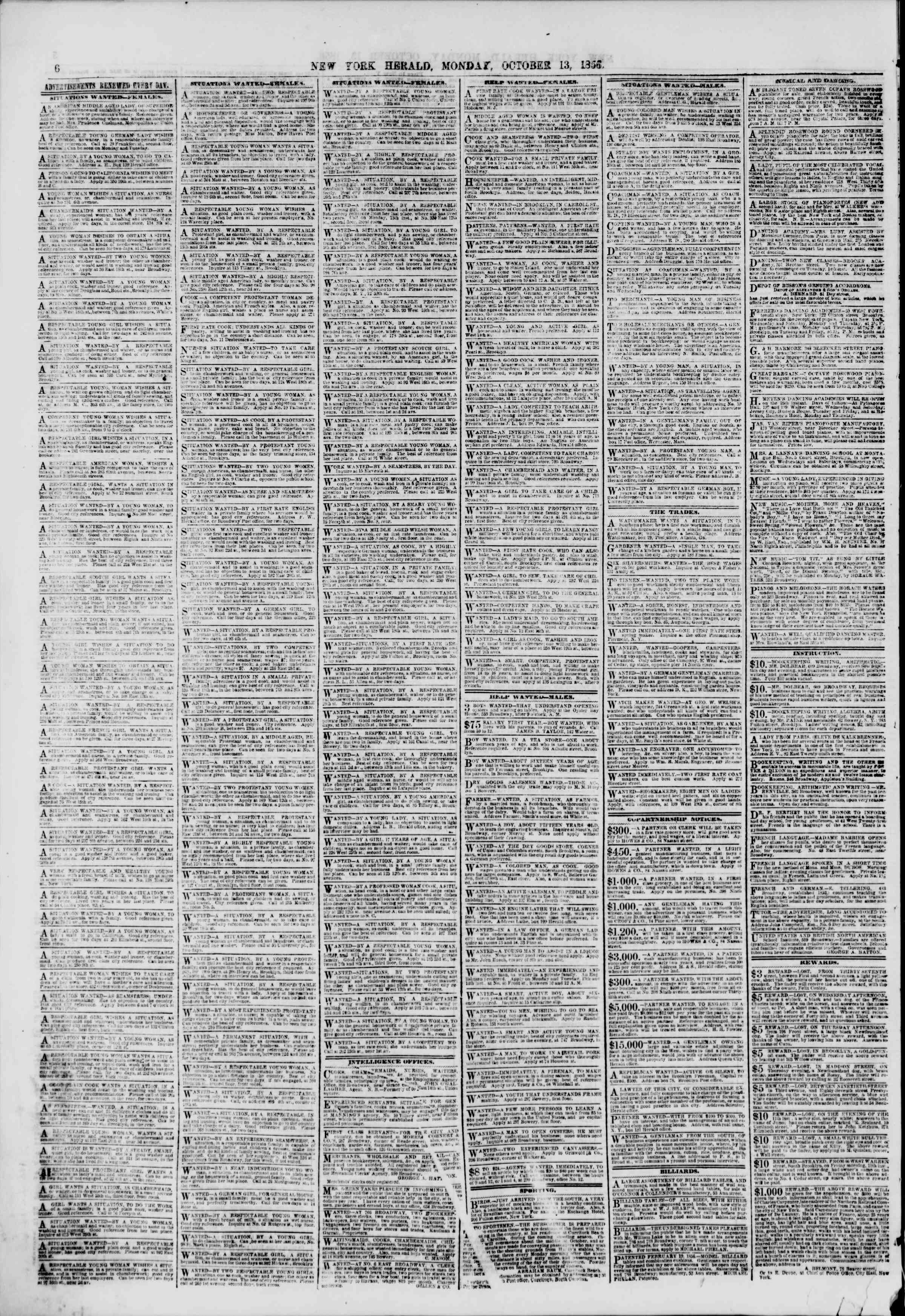 Newspaper of The New York Herald dated October 13, 1856 Page 6