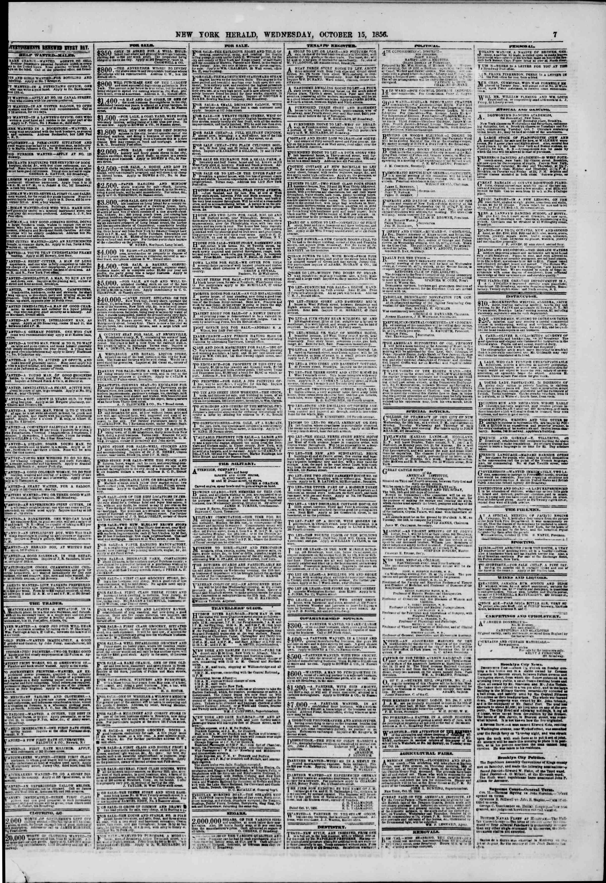 Newspaper of The New York Herald dated October 15, 1856 Page 7