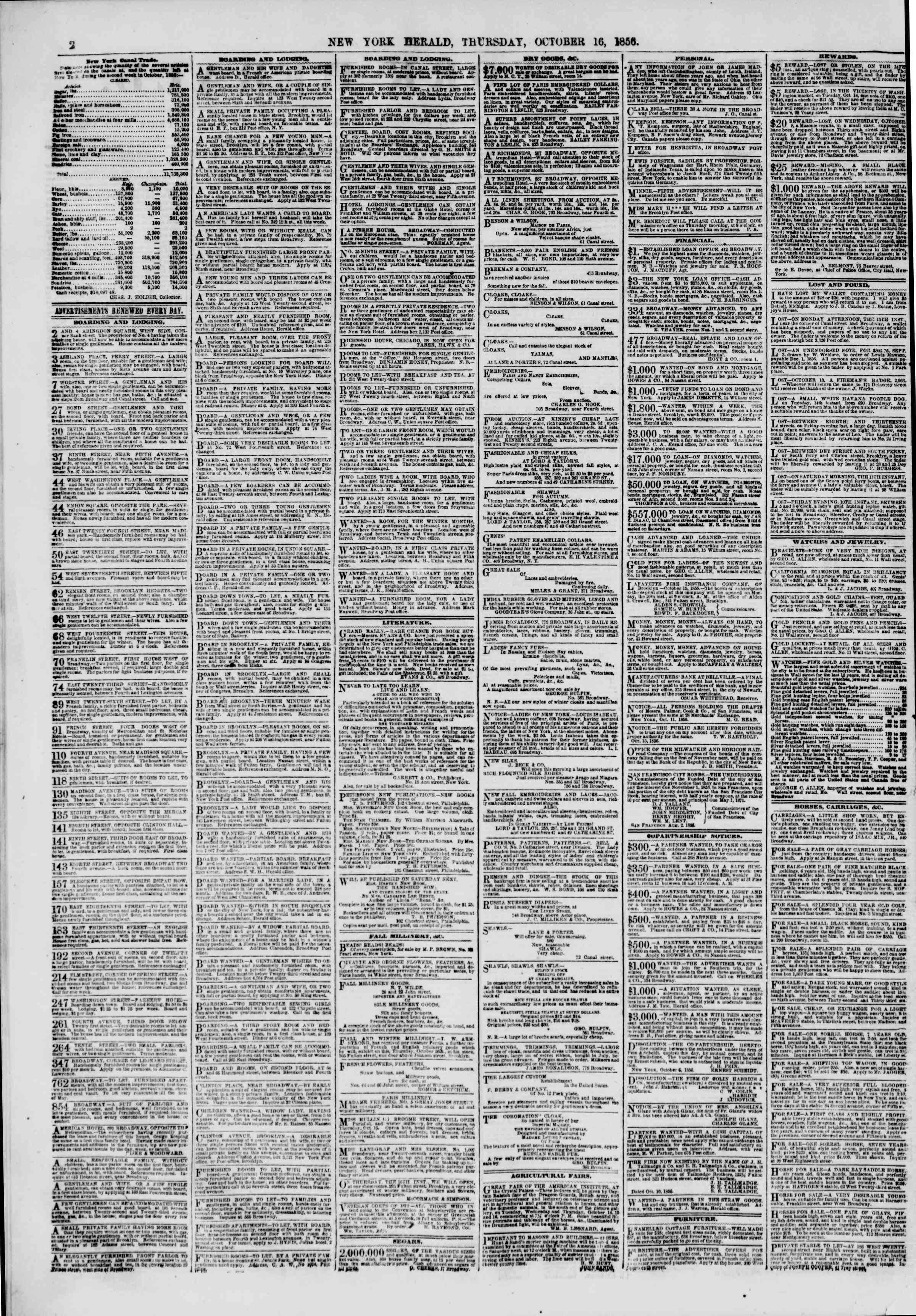 Newspaper of The New York Herald dated October 16, 1856 Page 2