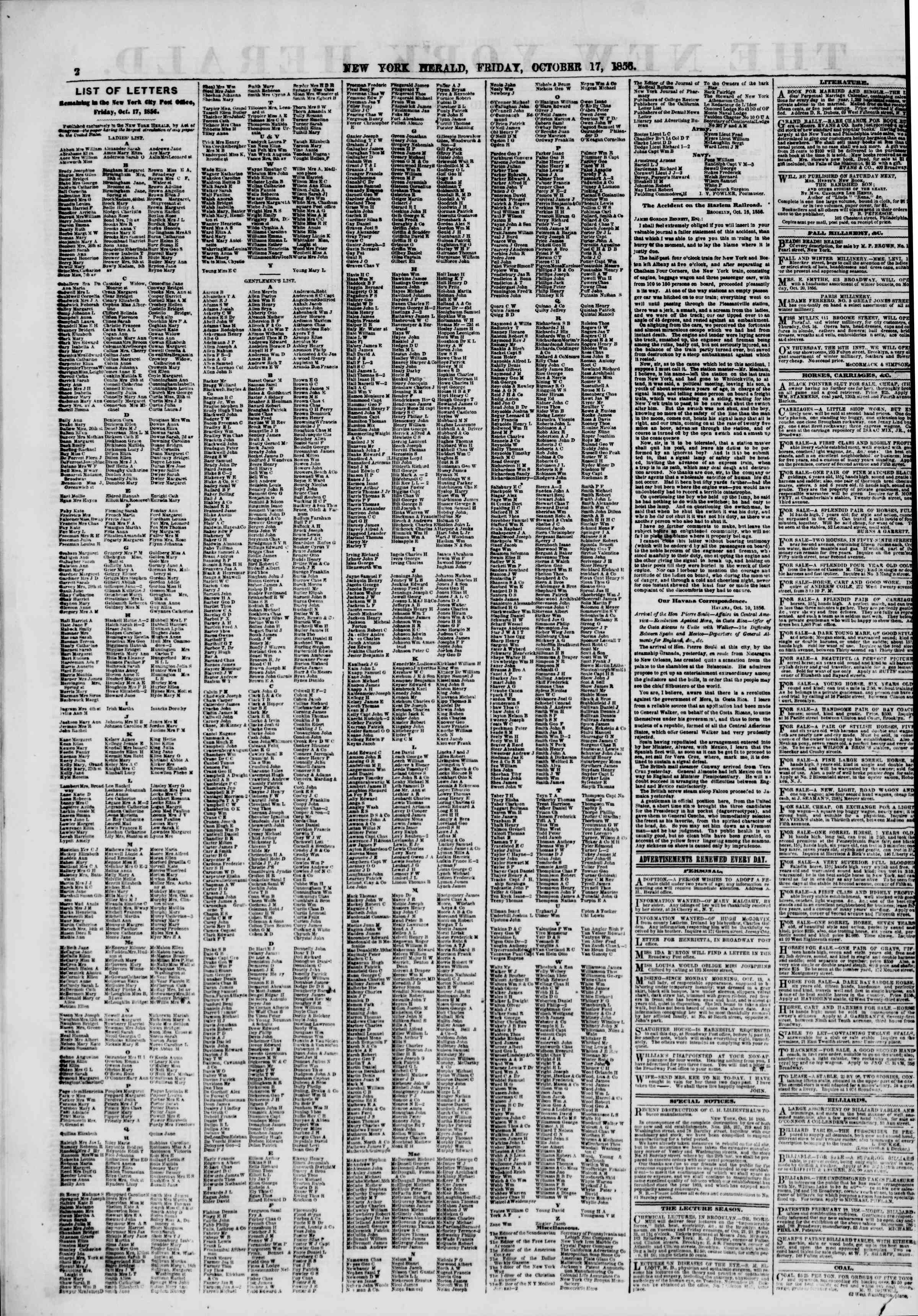 Newspaper of The New York Herald dated October 17, 1856 Page 2