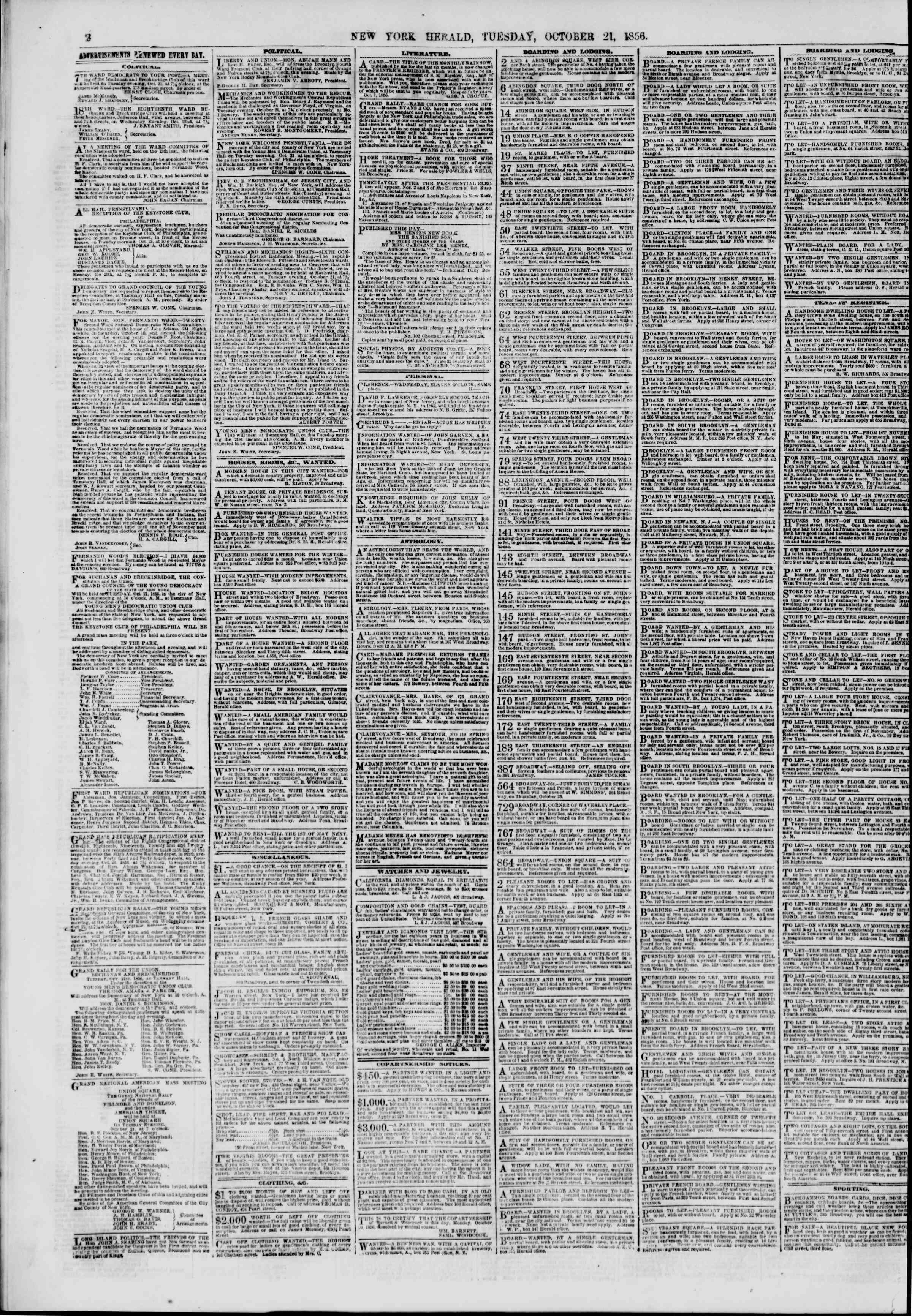 Newspaper of The New York Herald dated October 21, 1856 Page 2
