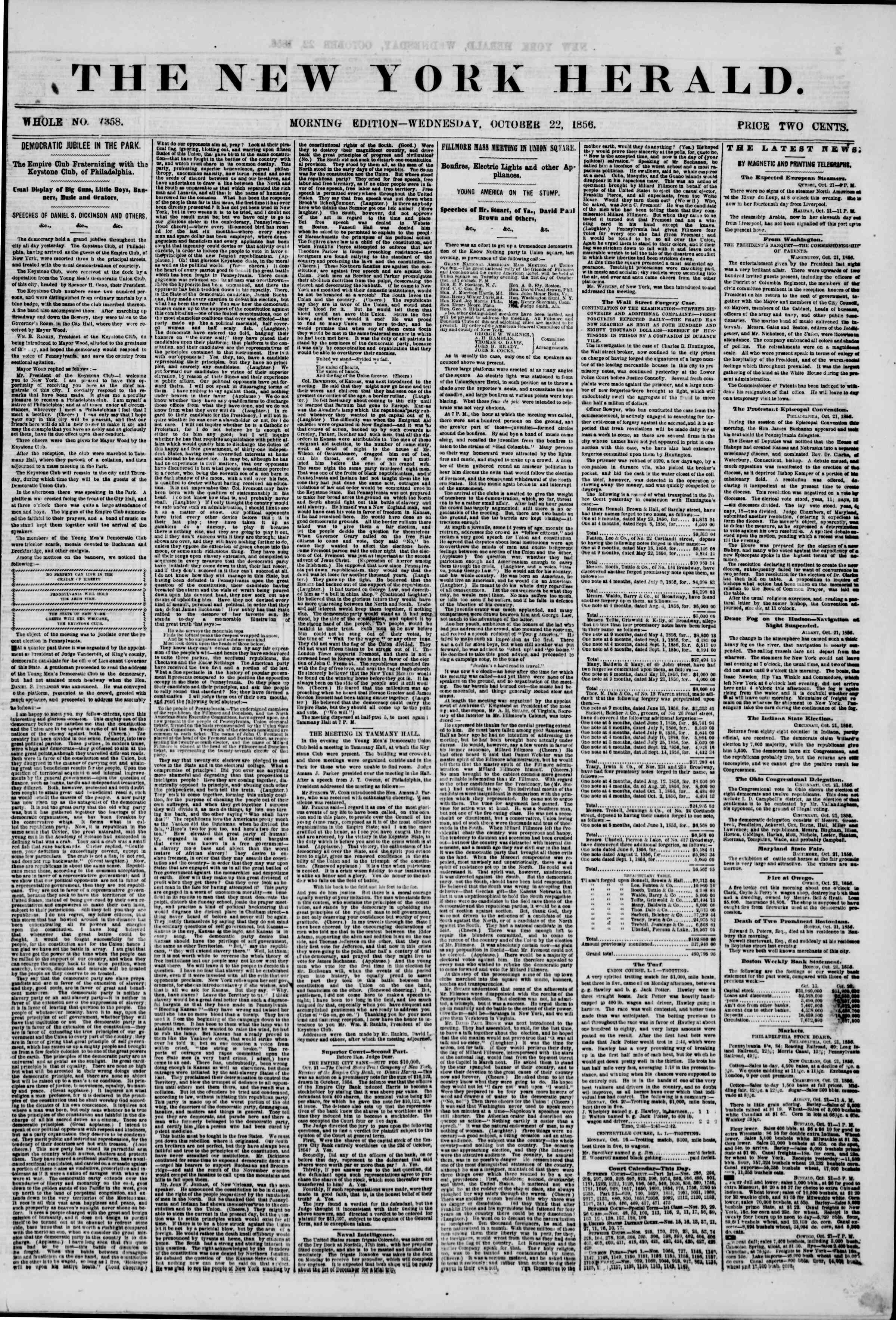 Newspaper of The New York Herald dated October 22, 1856 Page 1