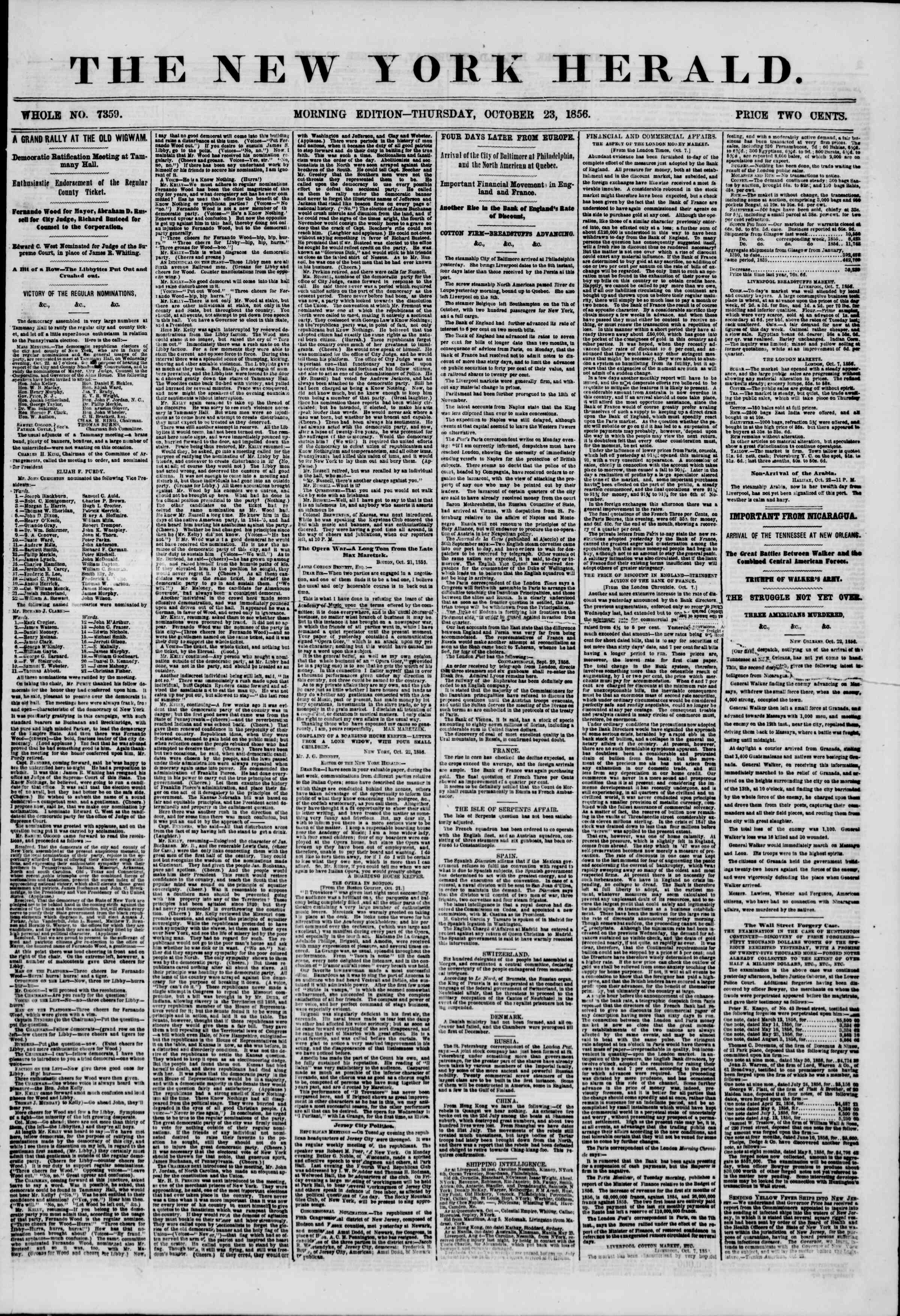 23 Ekim 1856 tarihli The New York Herald Gazetesi Sayfa 1