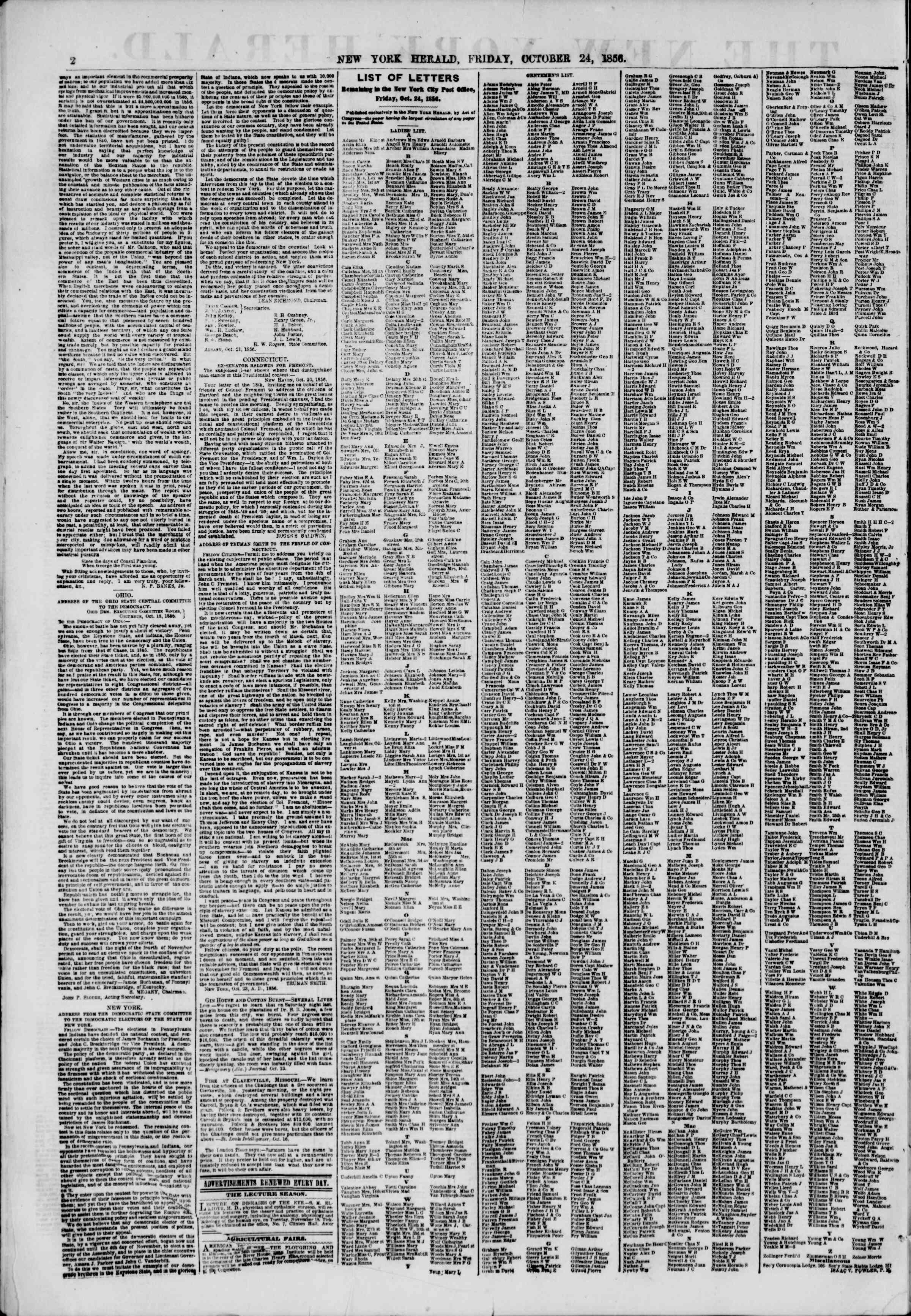 Newspaper of The New York Herald dated October 24, 1856 Page 2