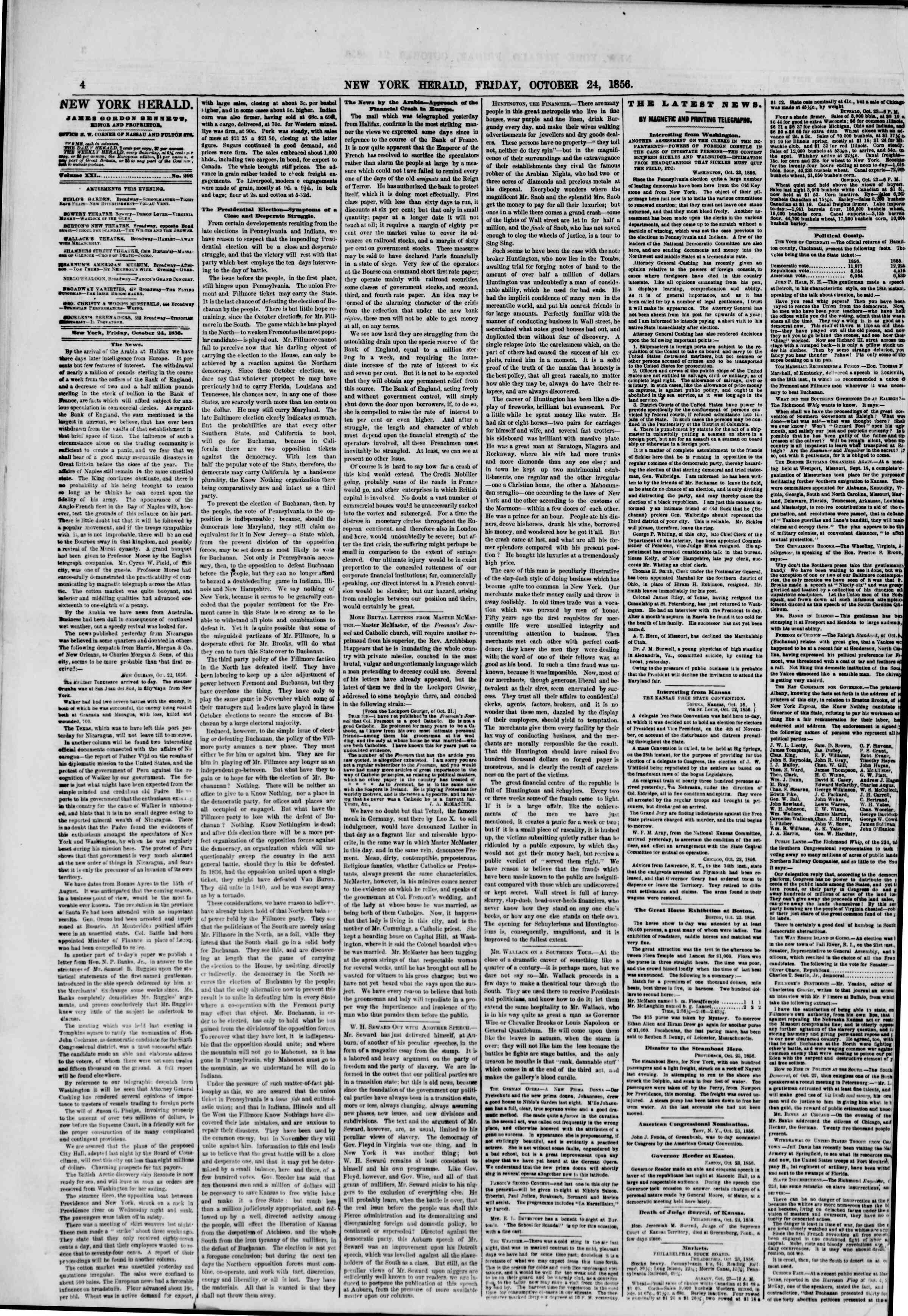 Newspaper of The New York Herald dated October 24, 1856 Page 4
