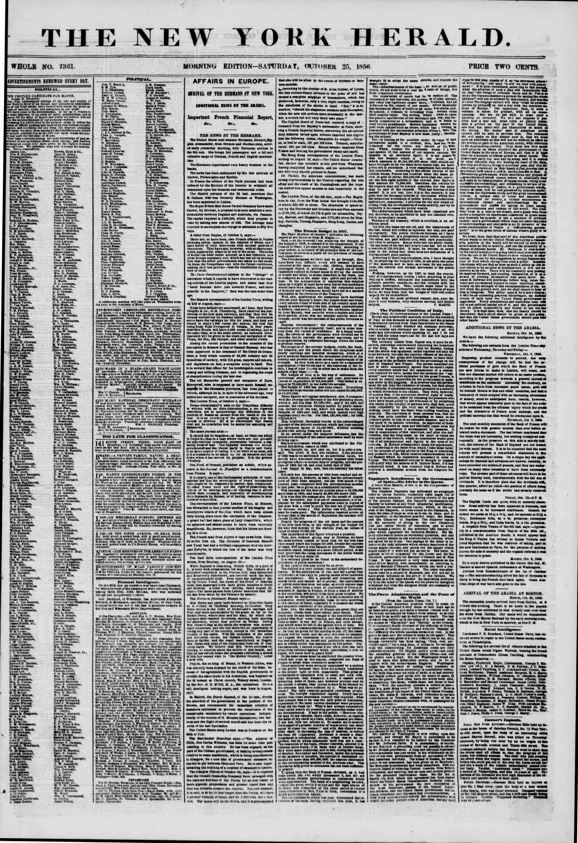 25 Ekim 1856 tarihli The New York Herald Gazetesi Sayfa 1
