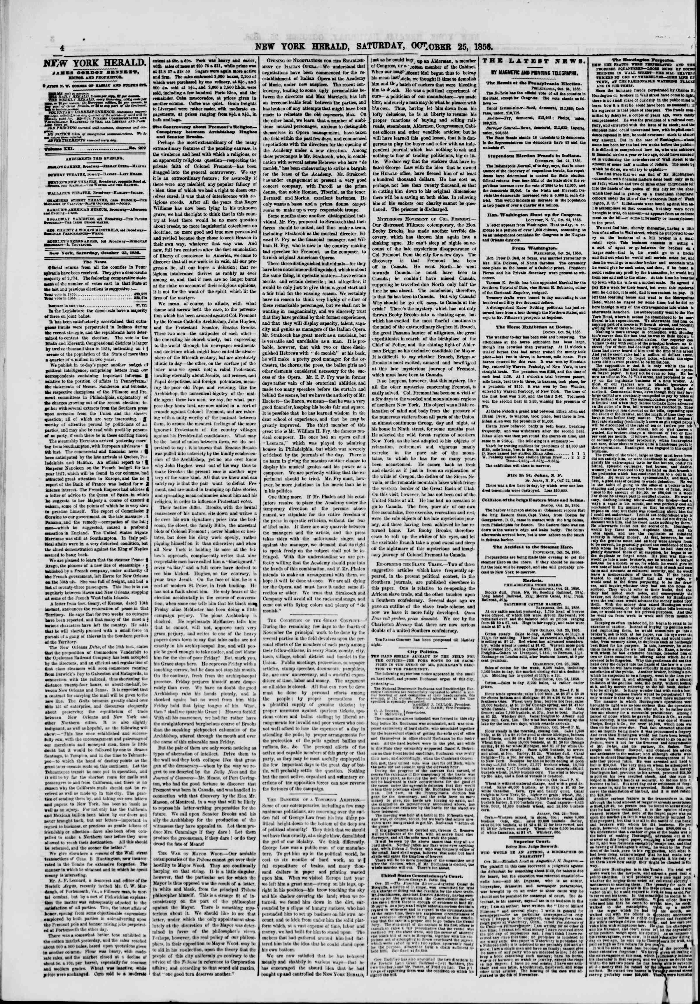 Newspaper of The New York Herald dated October 25, 1856 Page 4