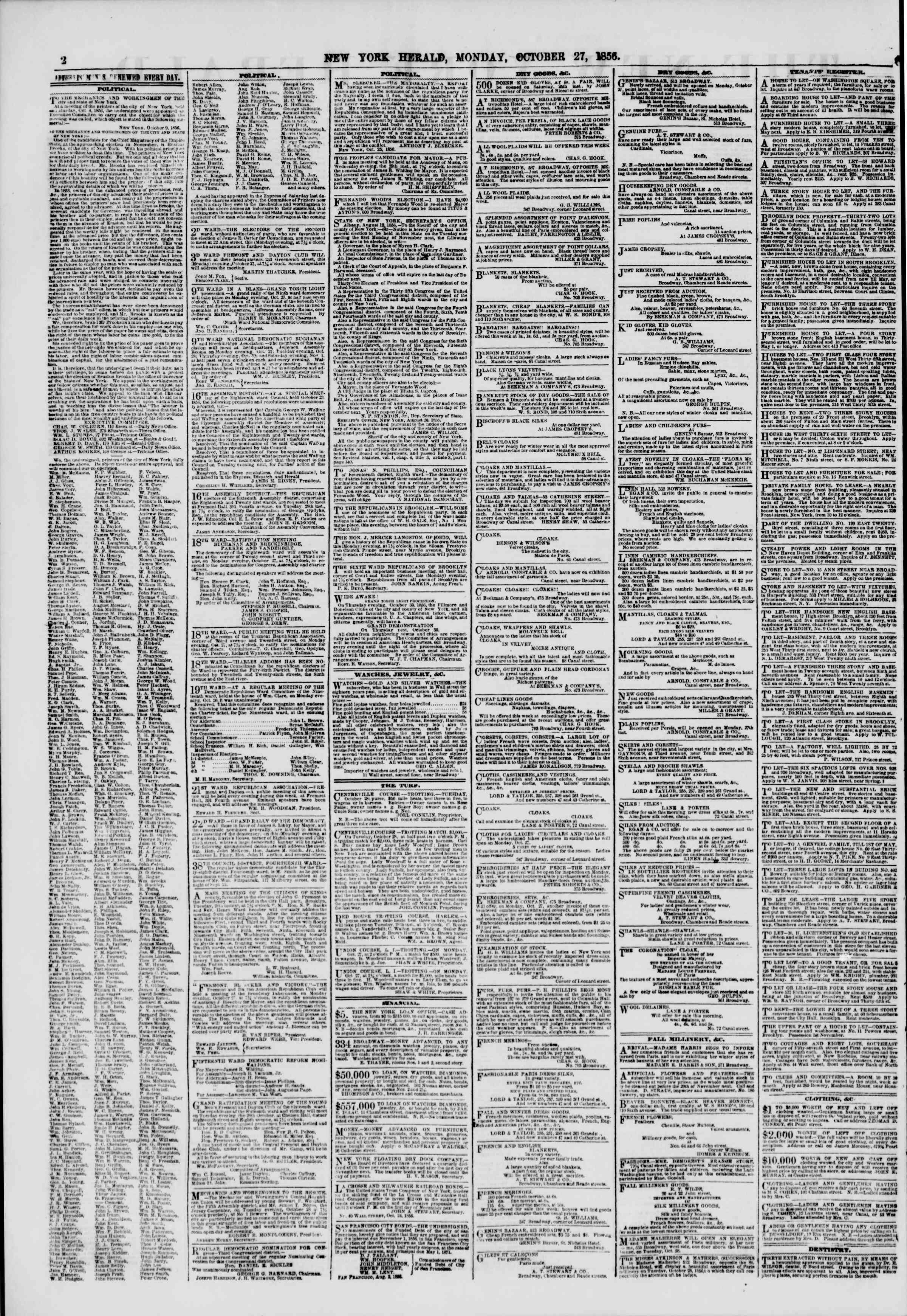 Newspaper of The New York Herald dated October 27, 1856 Page 2