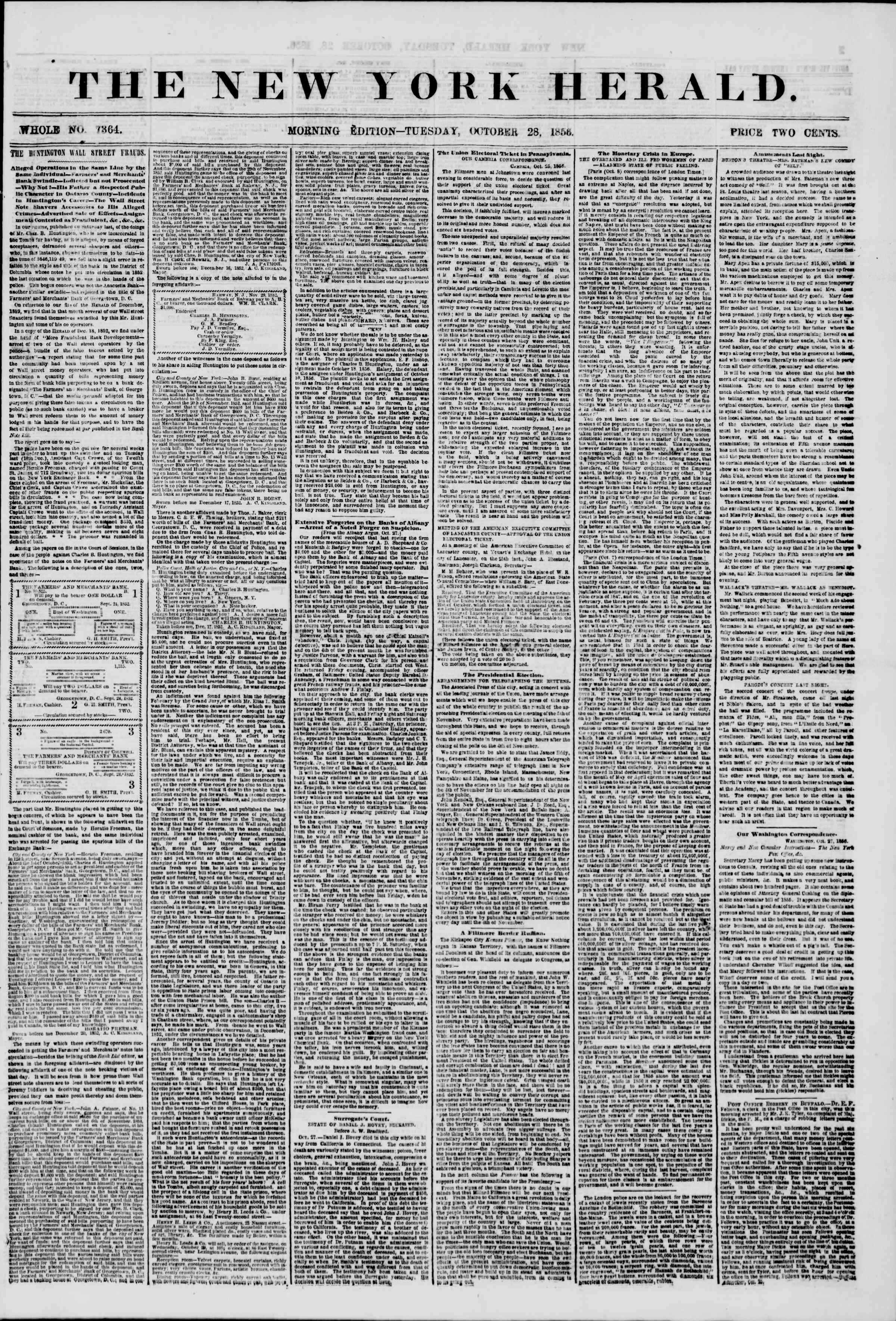 Newspaper of The New York Herald dated October 28, 1856 Page 1