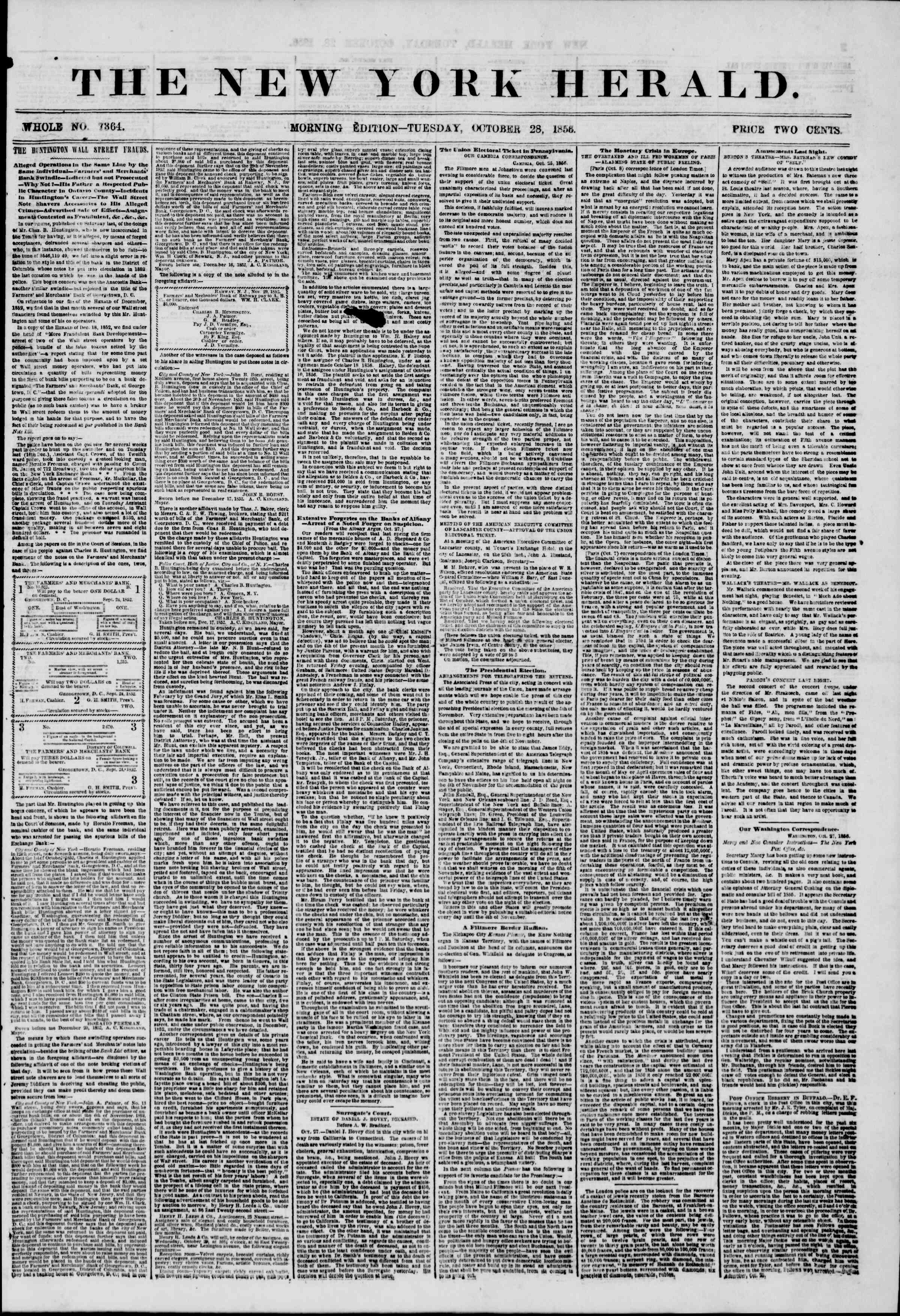 Newspaper of The New York Herald dated October 28, 1856 Page 2