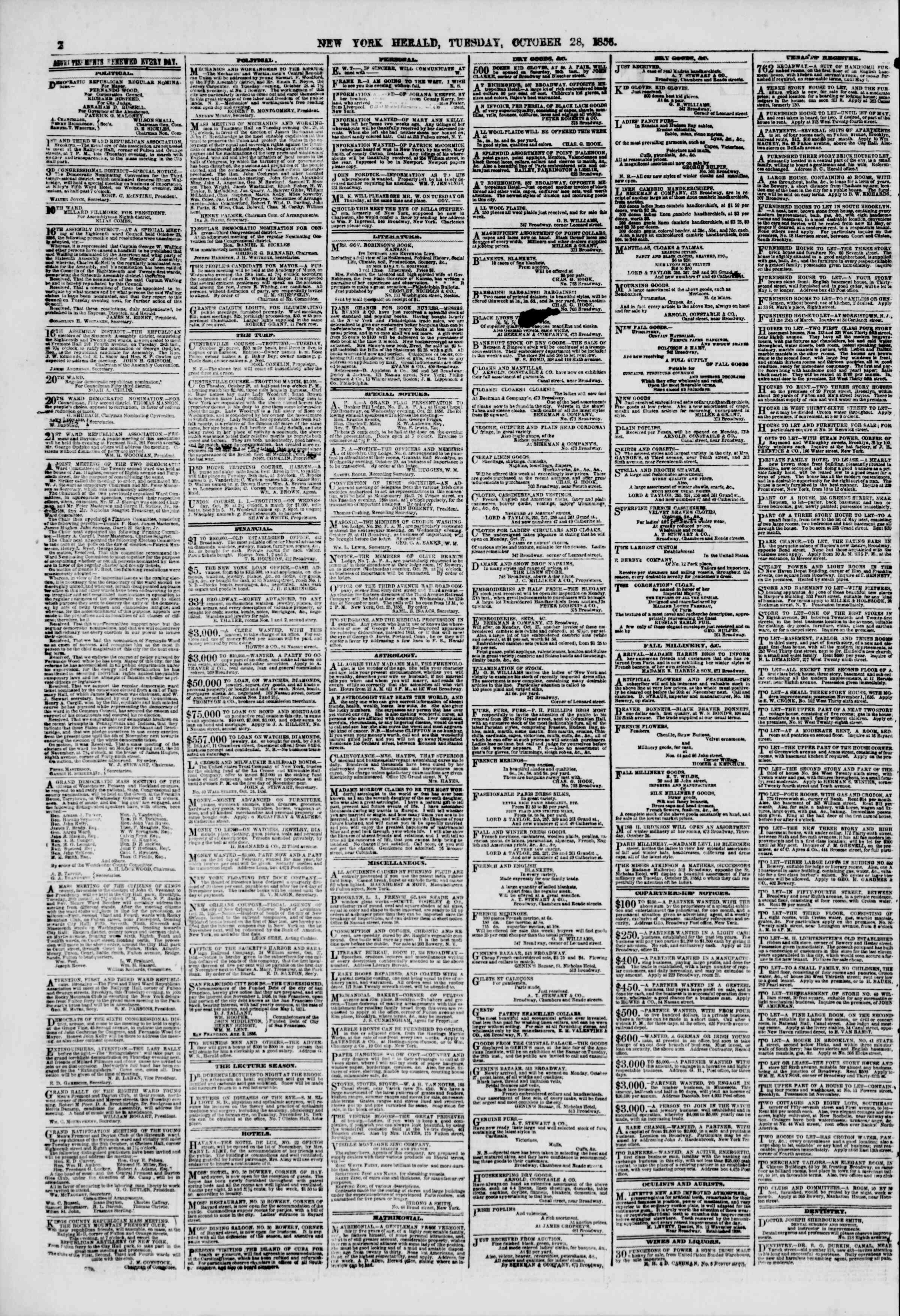 Newspaper of The New York Herald dated October 28, 1856 Page 3