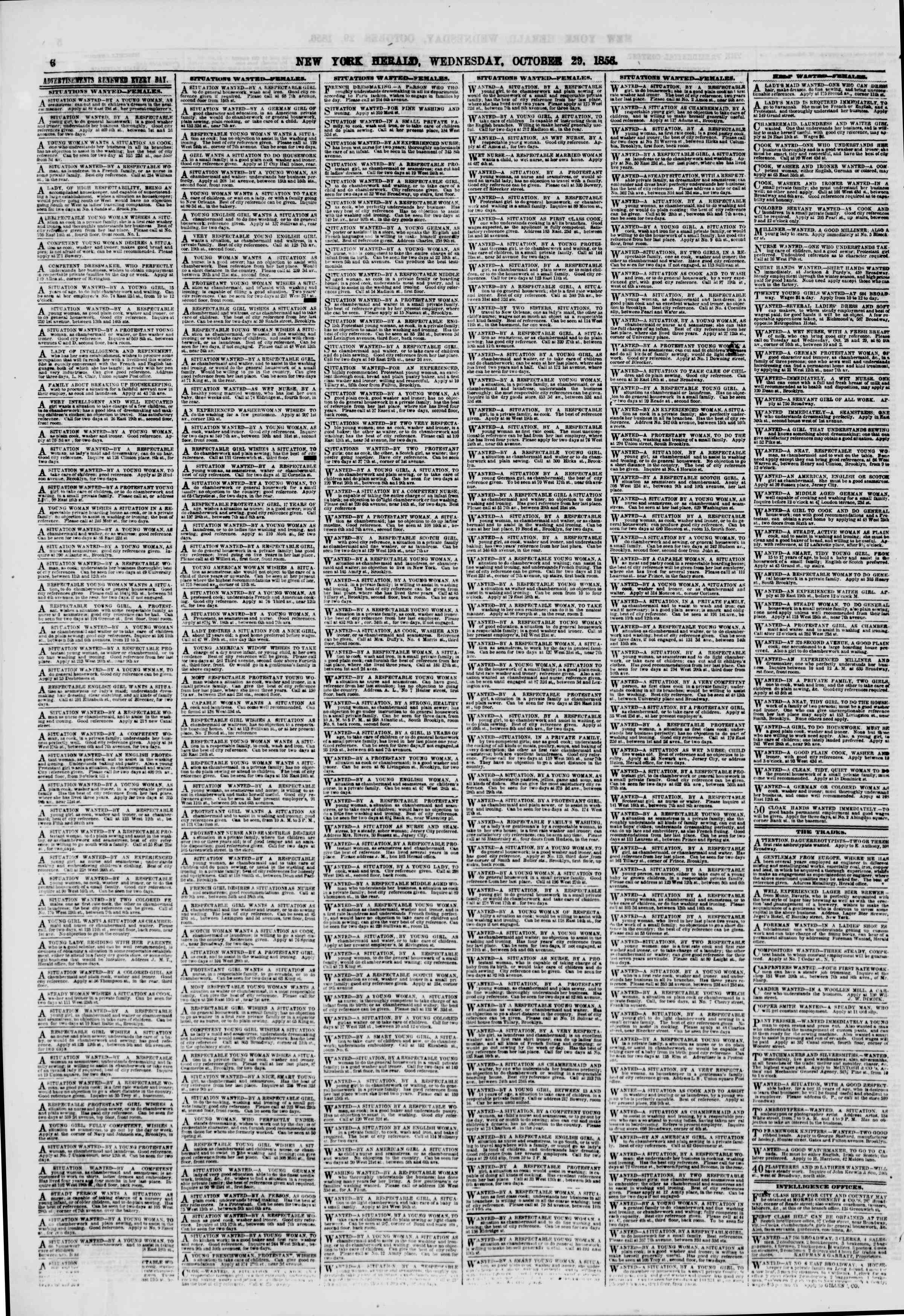 Newspaper of The New York Herald dated October 29, 1856 Page 6