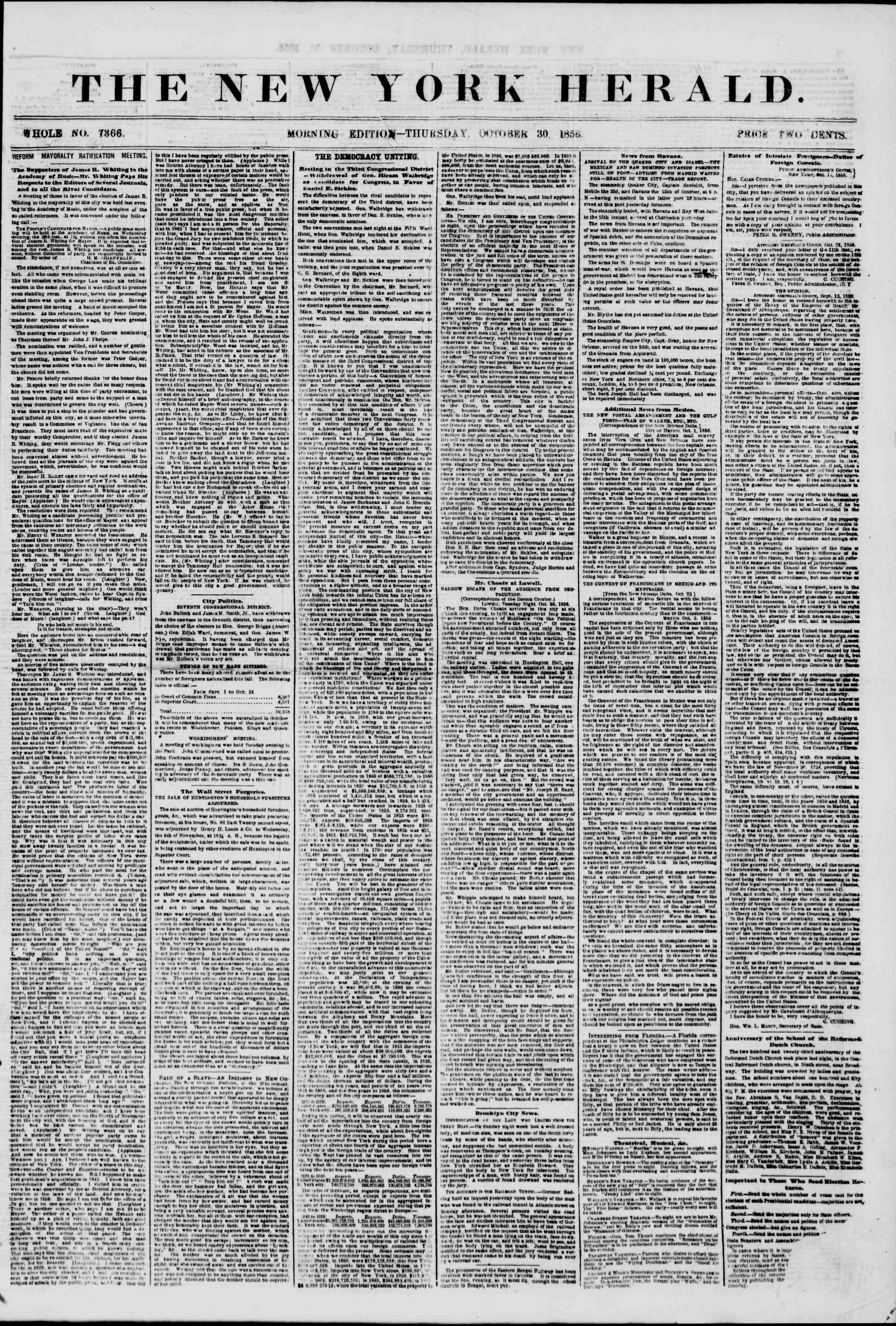 Newspaper of The New York Herald dated October 30, 1856 Page 1