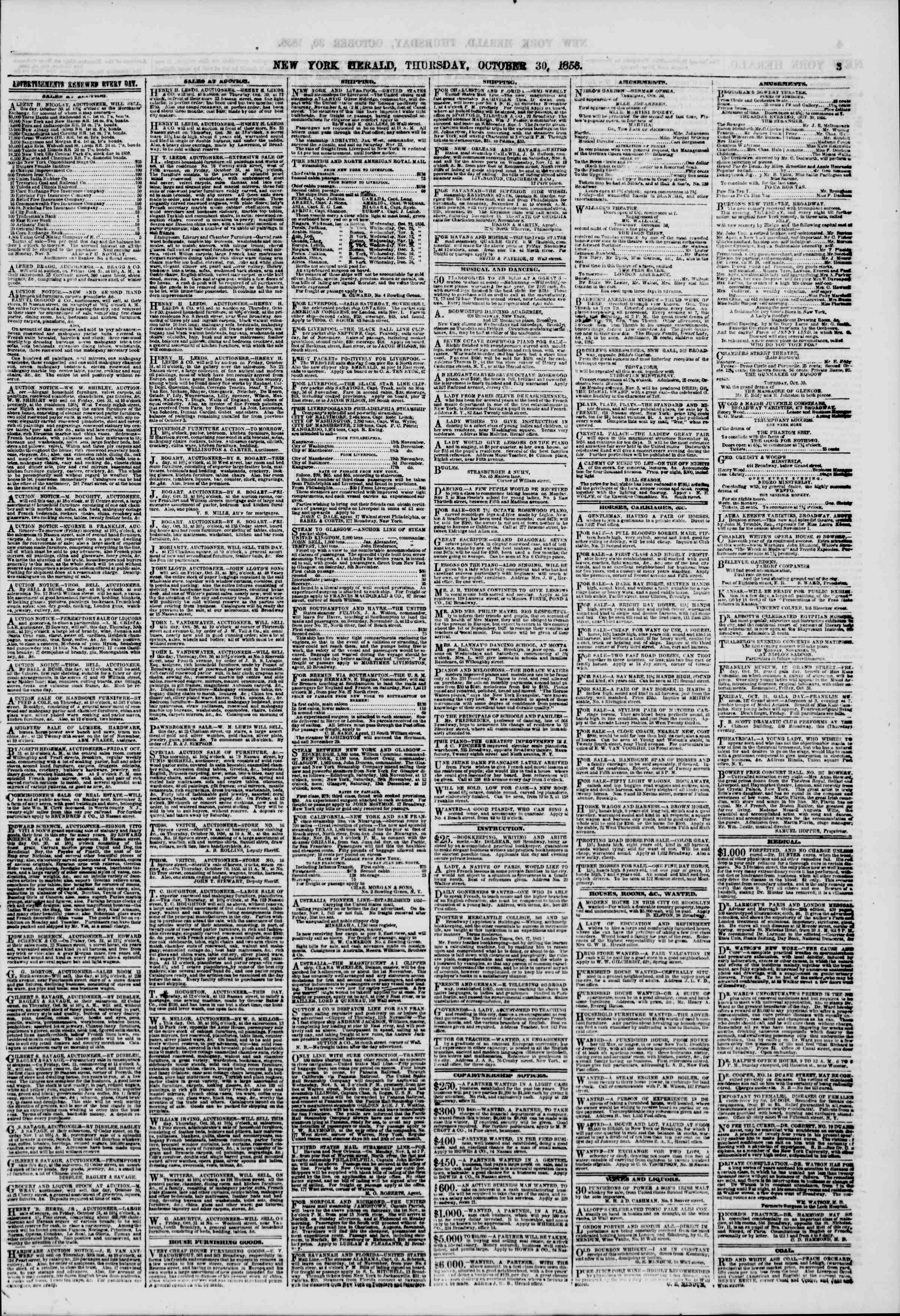 Newspaper of The New York Herald dated October 30, 1856 Page 3