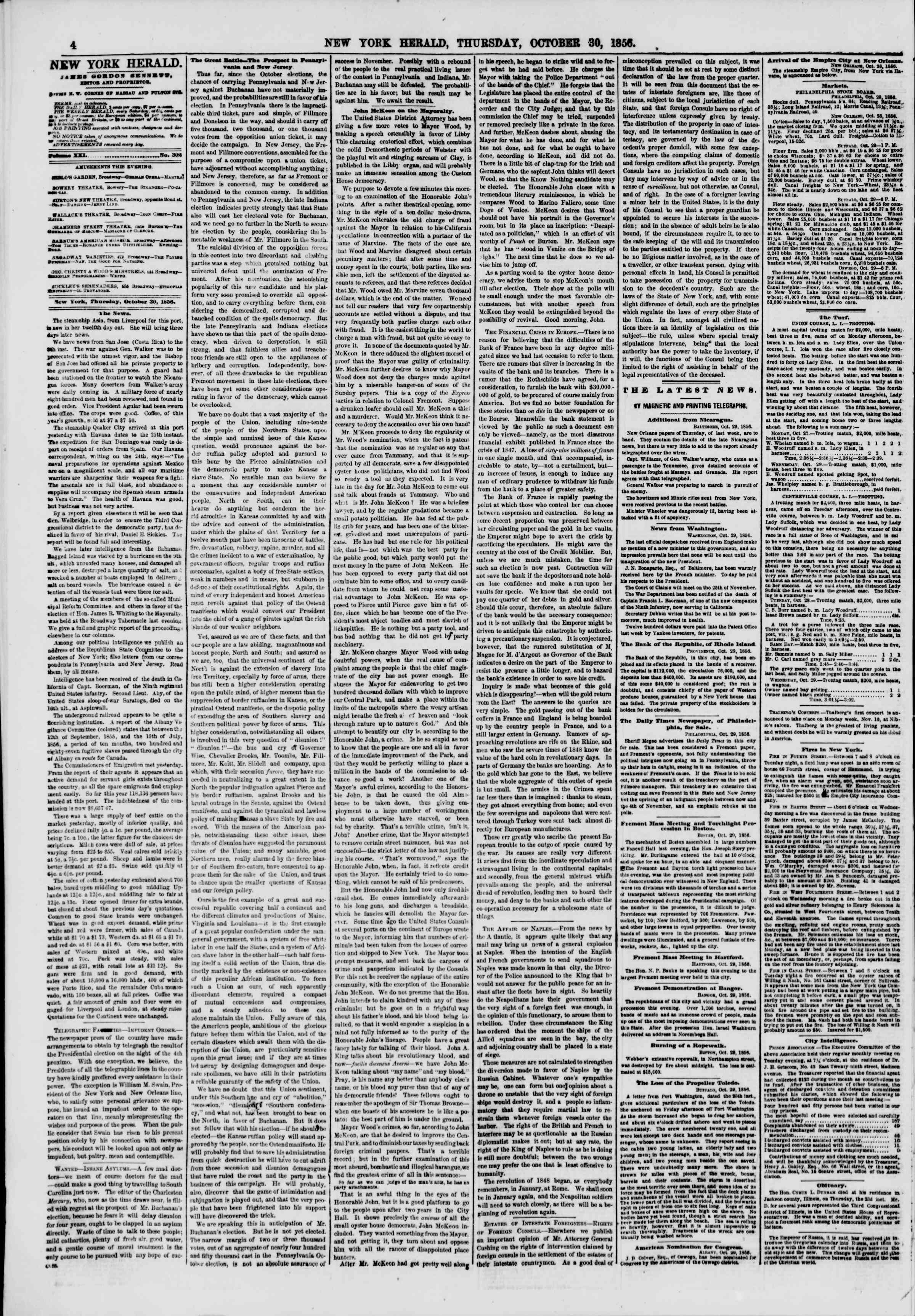 Newspaper of The New York Herald dated October 30, 1856 Page 4