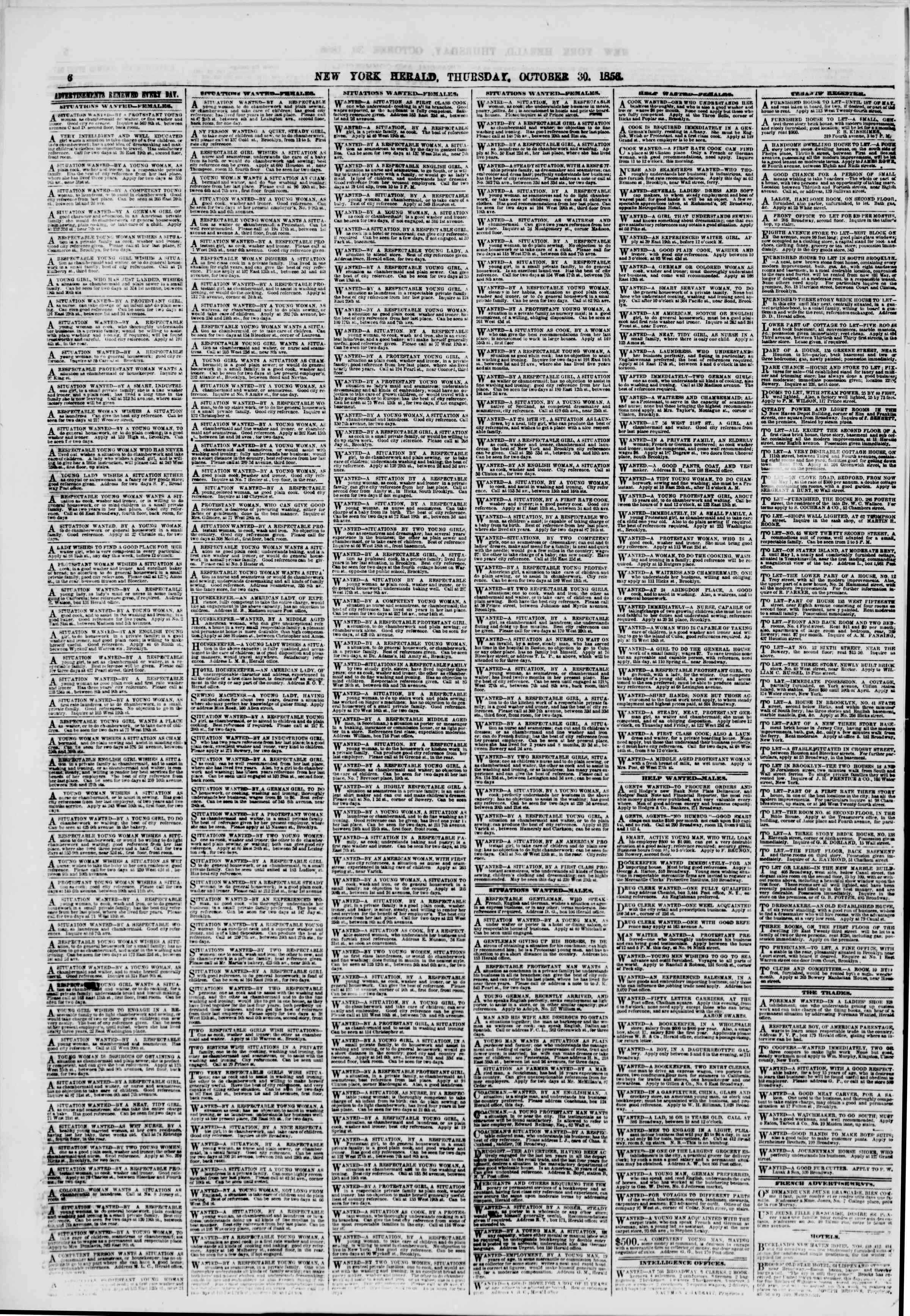 Newspaper of The New York Herald dated October 30, 1856 Page 6