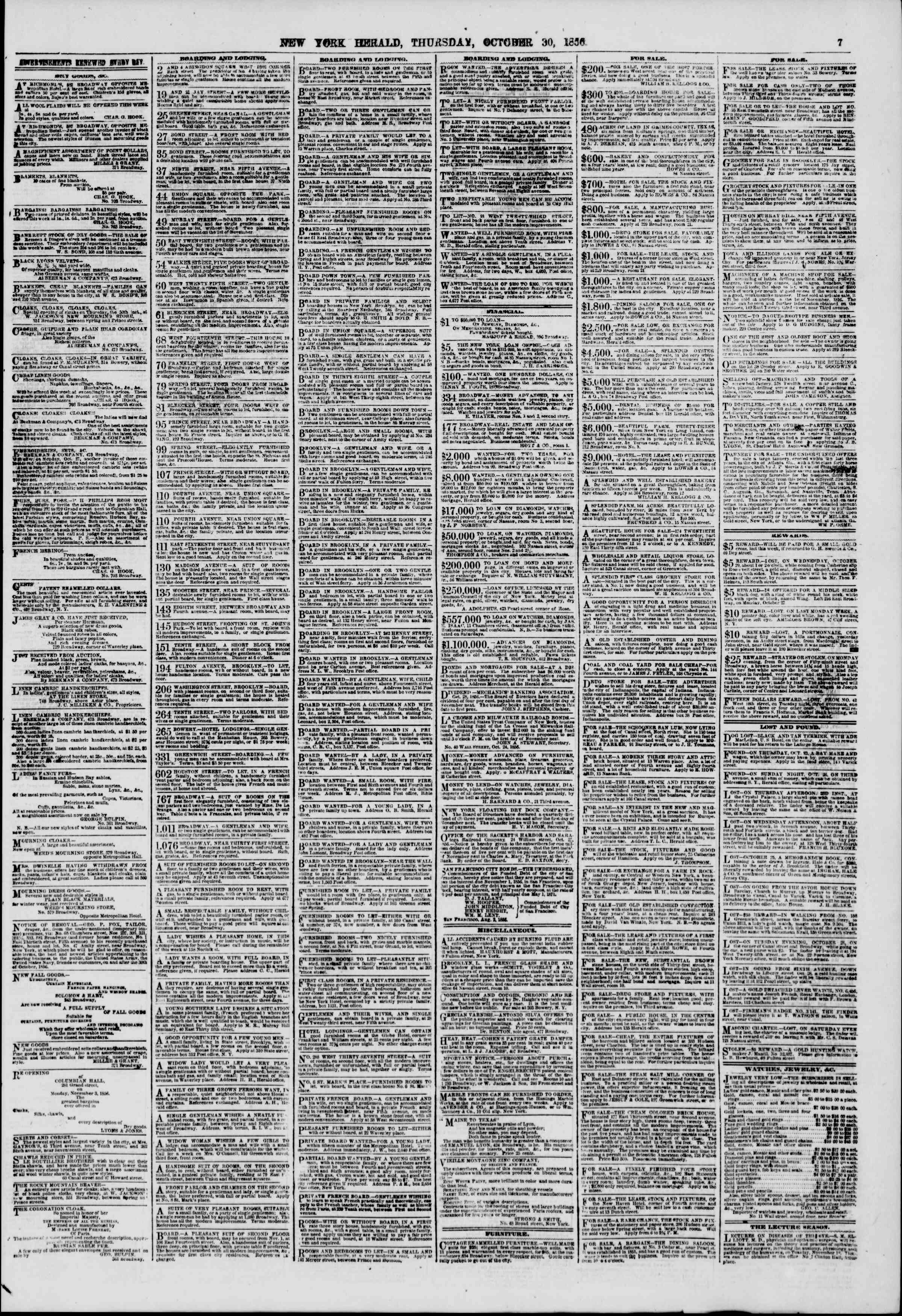 Newspaper of The New York Herald dated October 30, 1856 Page 7