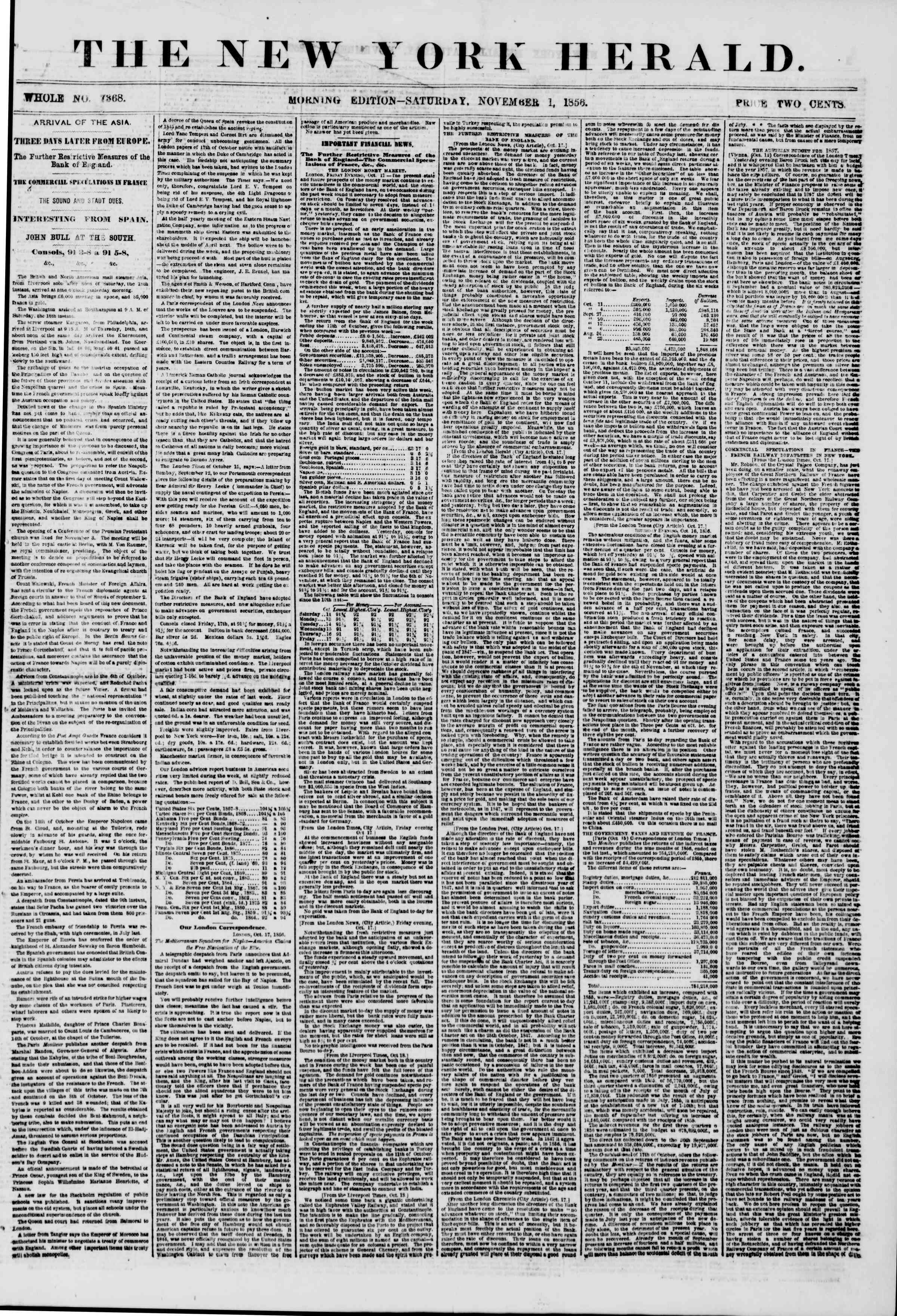 Newspaper of The New York Herald dated November 1, 1856 Page 1