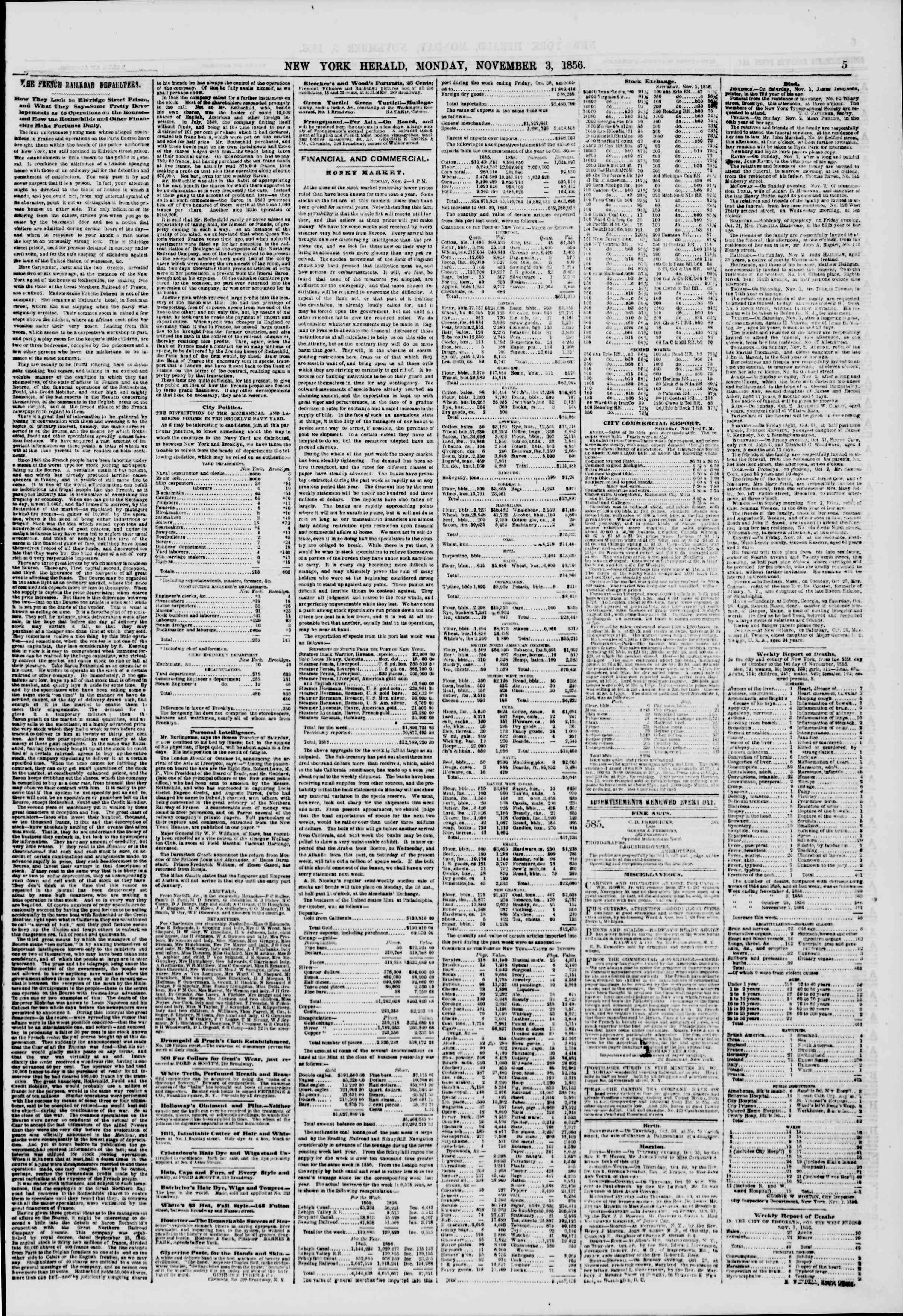 Newspaper of The New York Herald dated November 3, 1856 Page 5