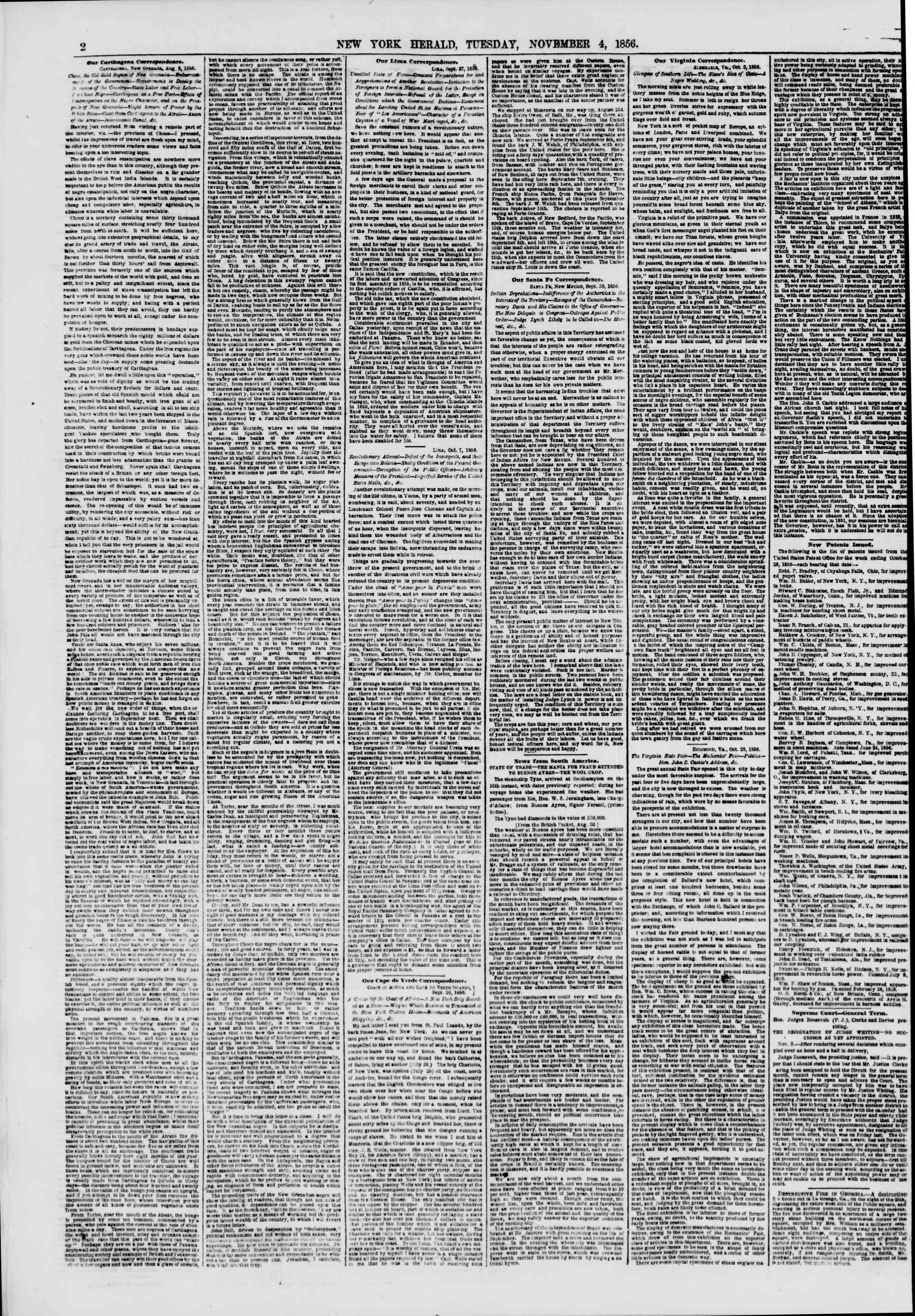 Newspaper of The New York Herald dated November 4, 1856 Page 2