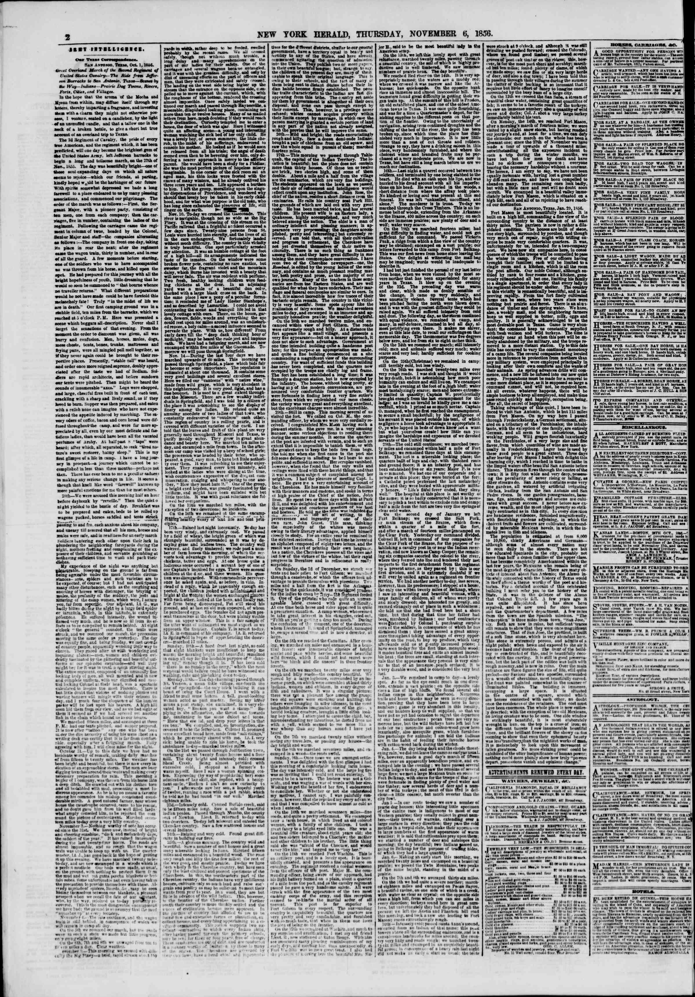 Newspaper of The New York Herald dated November 6, 1856 Page 2
