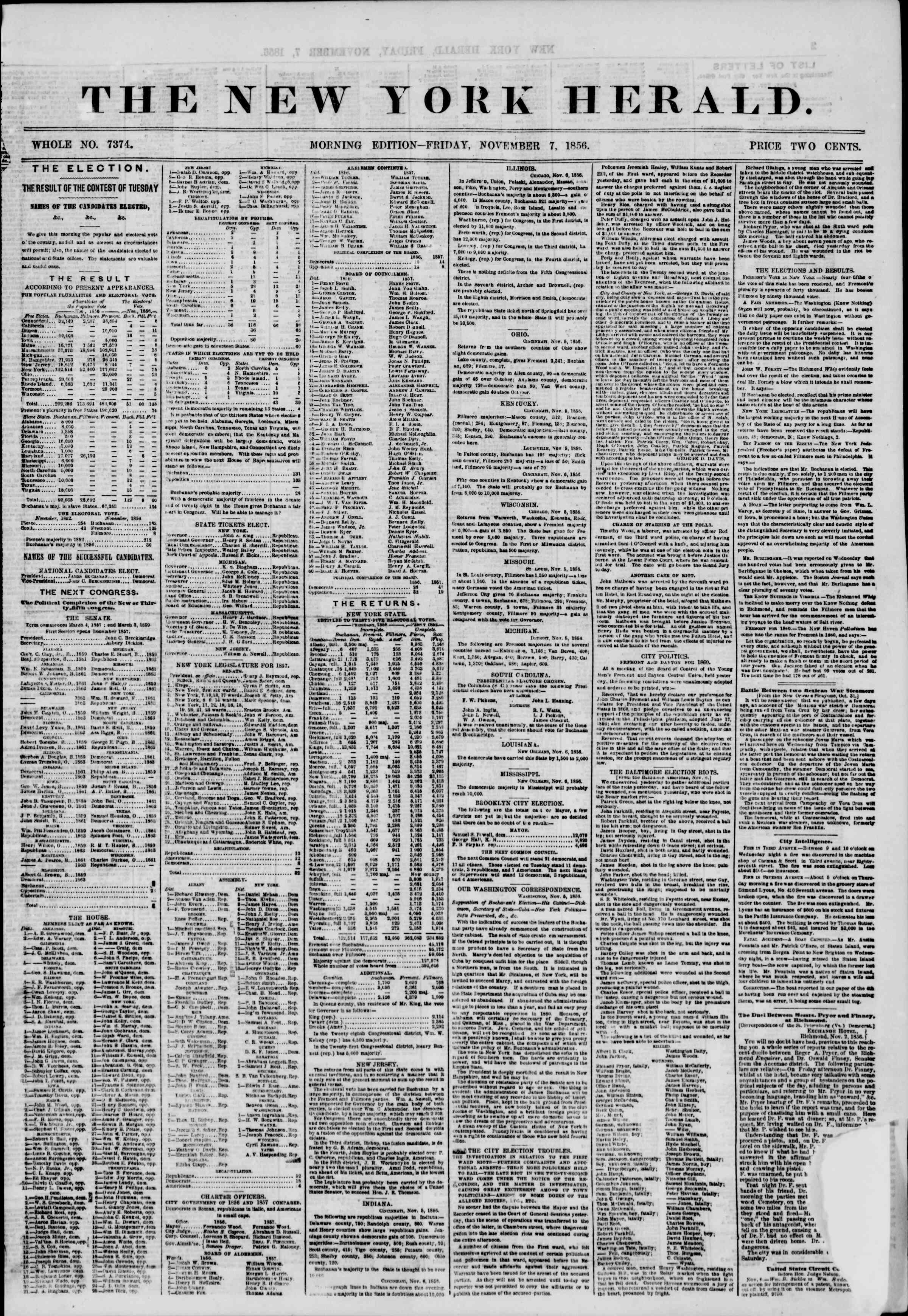 Newspaper of The New York Herald dated November 7, 1856 Page 1