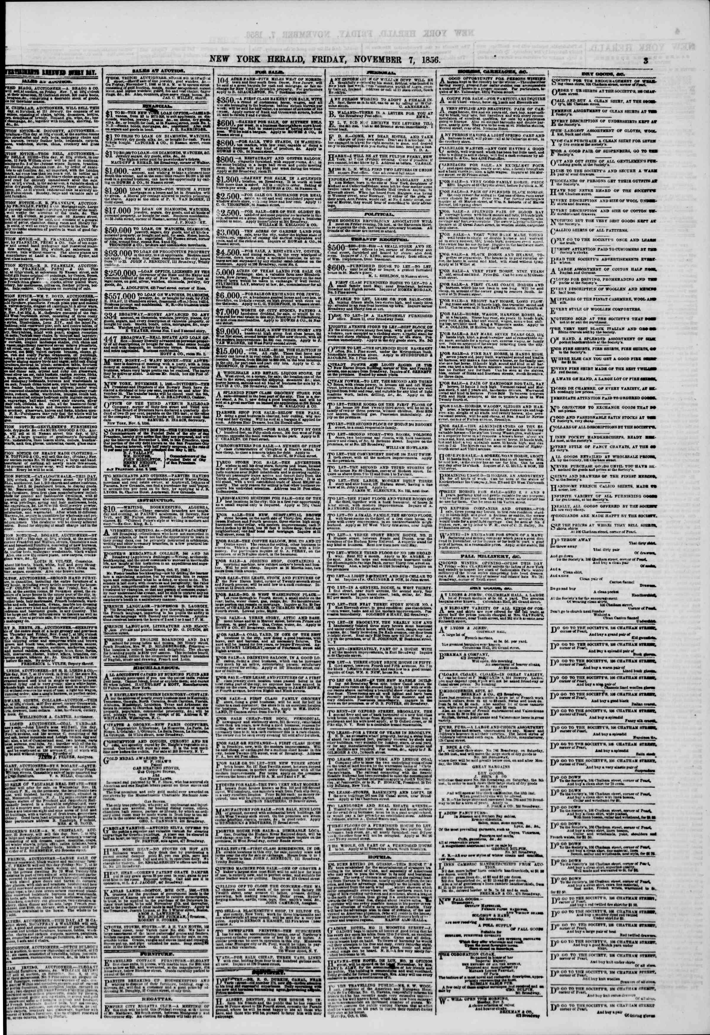 Newspaper of The New York Herald dated November 7, 1856 Page 3