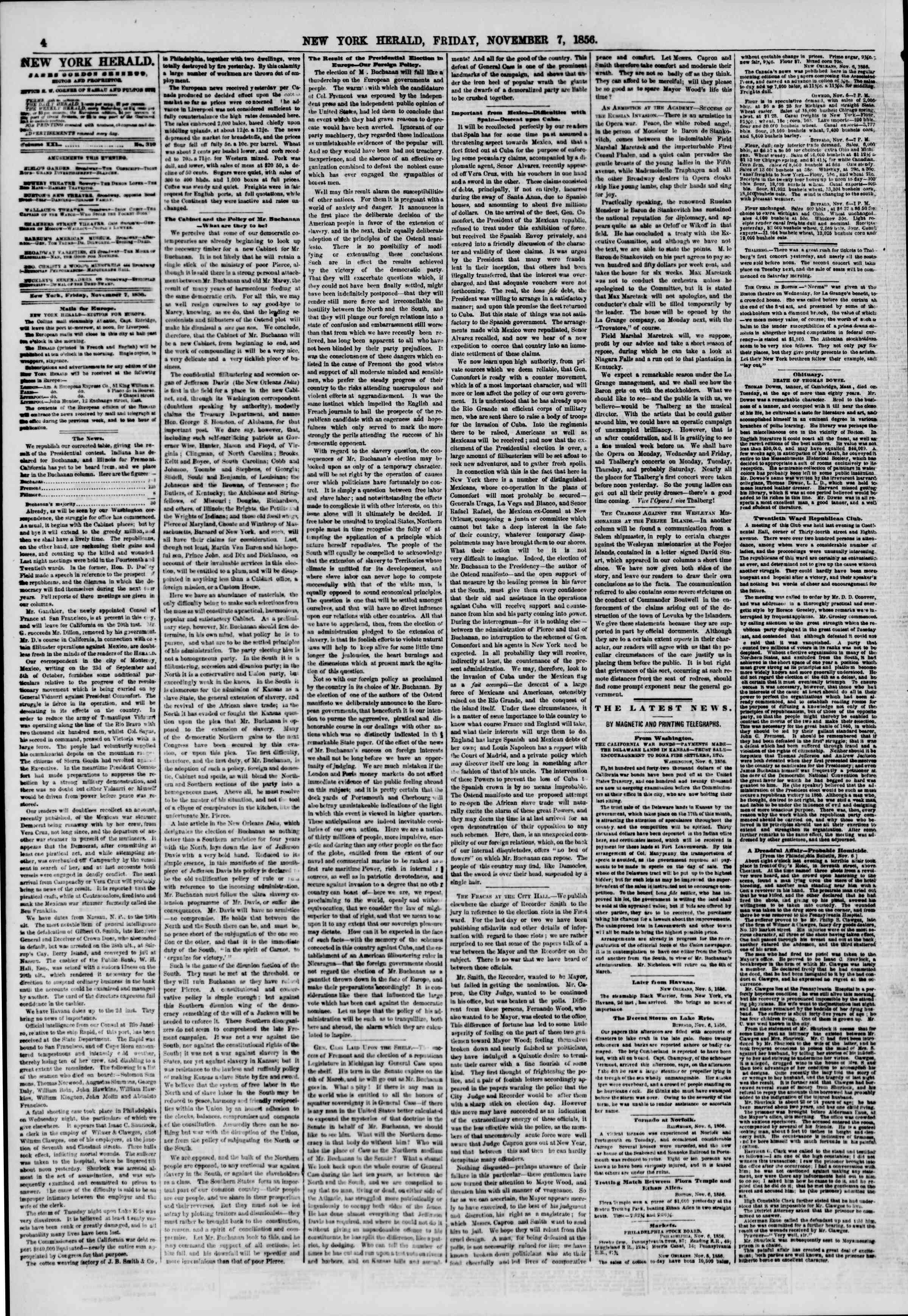 7 Kasım 1856 tarihli The New York Herald Gazetesi Sayfa 4