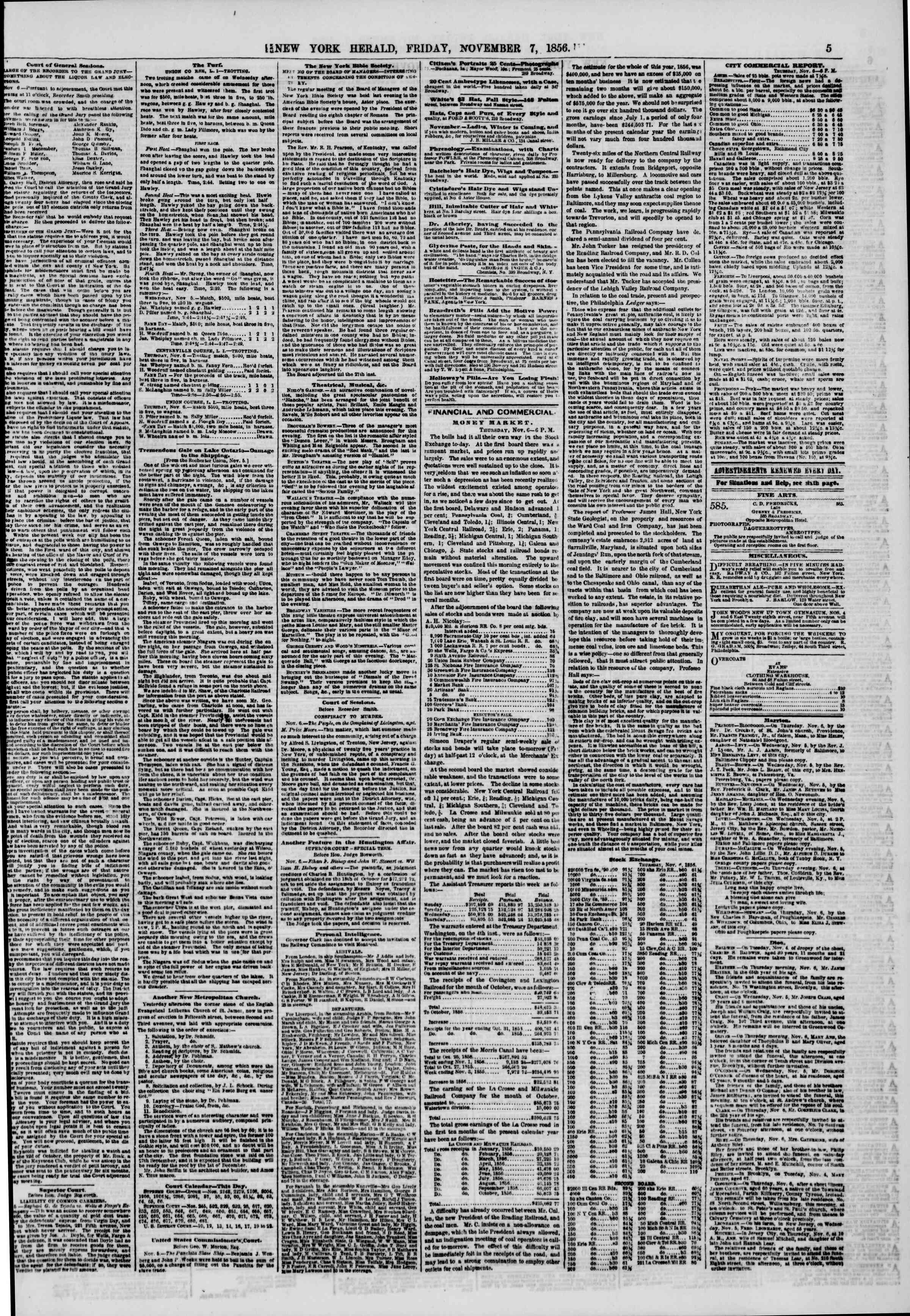 Newspaper of The New York Herald dated November 7, 1856 Page 5