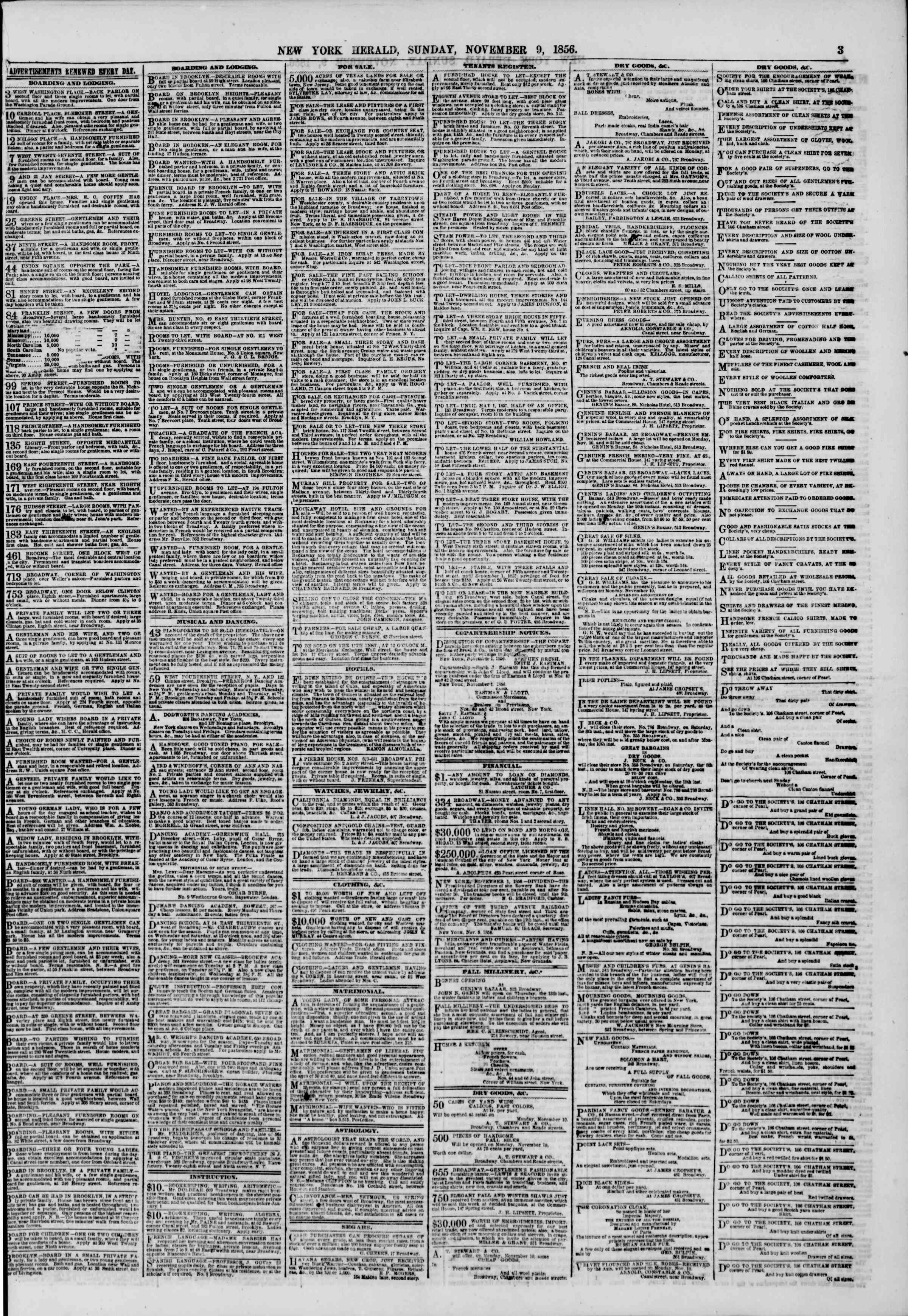 Newspaper of The New York Herald dated November 9, 1856 Page 3