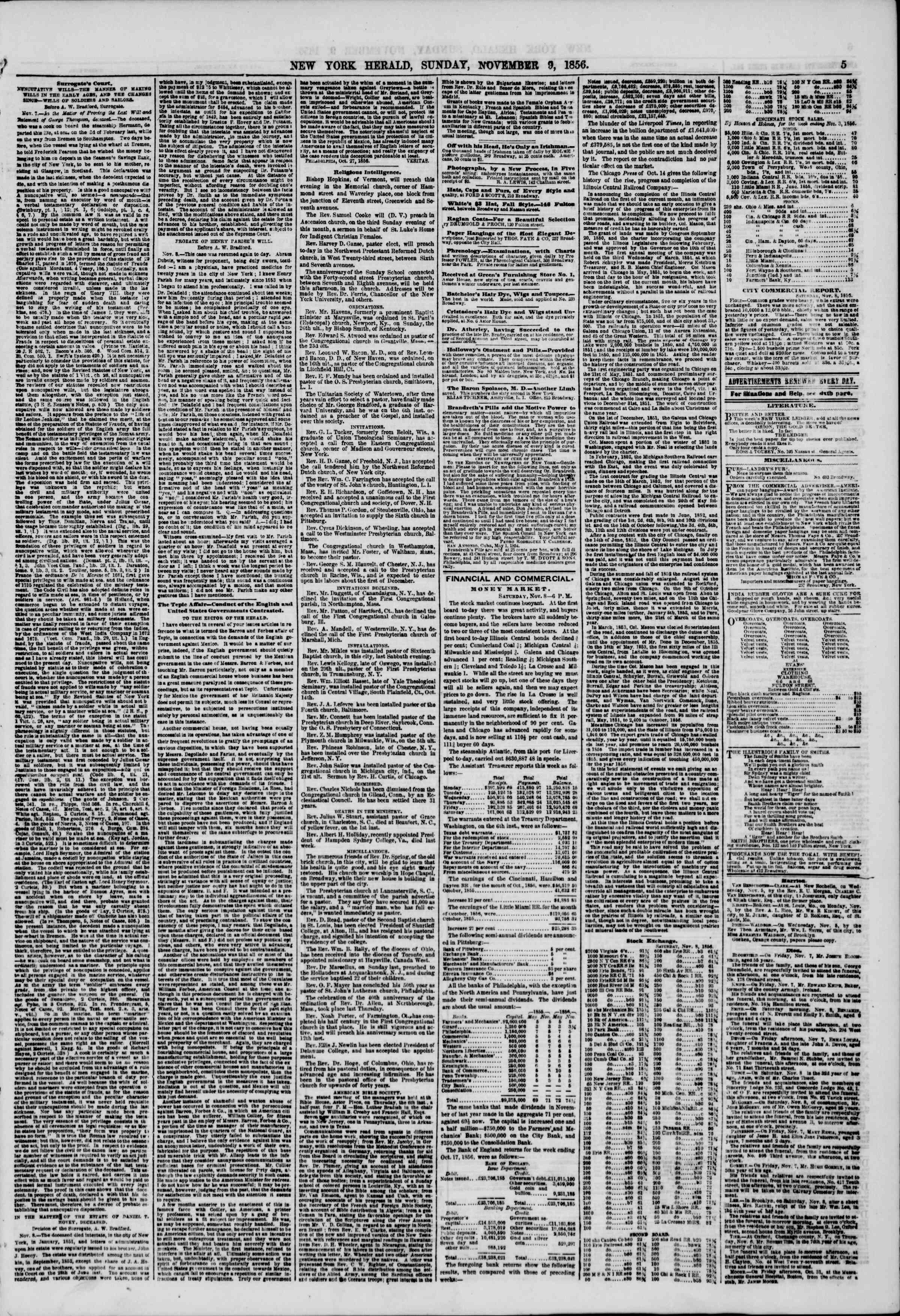 Newspaper of The New York Herald dated November 9, 1856 Page 5