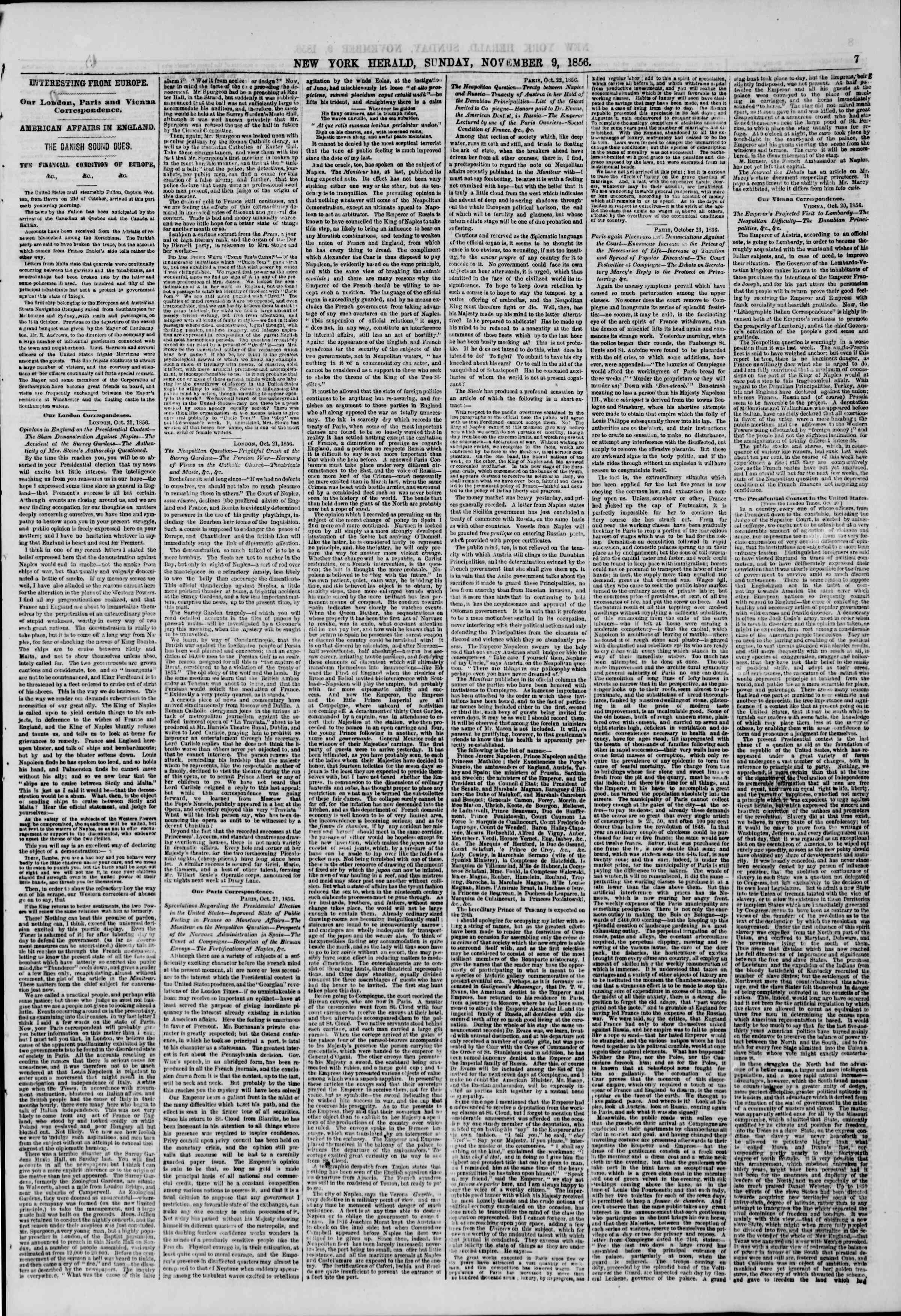 Newspaper of The New York Herald dated November 9, 1856 Page 7