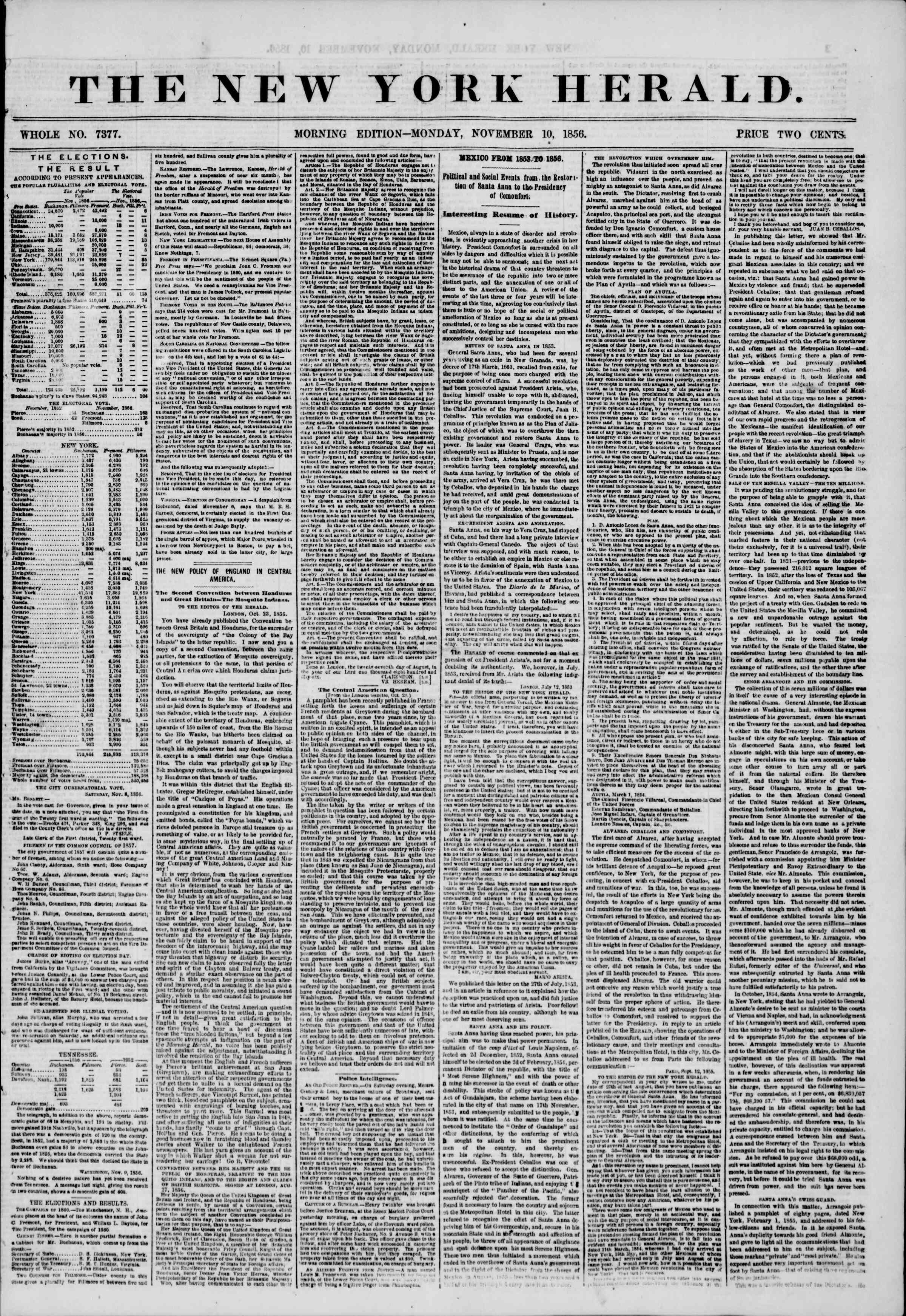 Newspaper of The New York Herald dated November 10, 1856 Page 1