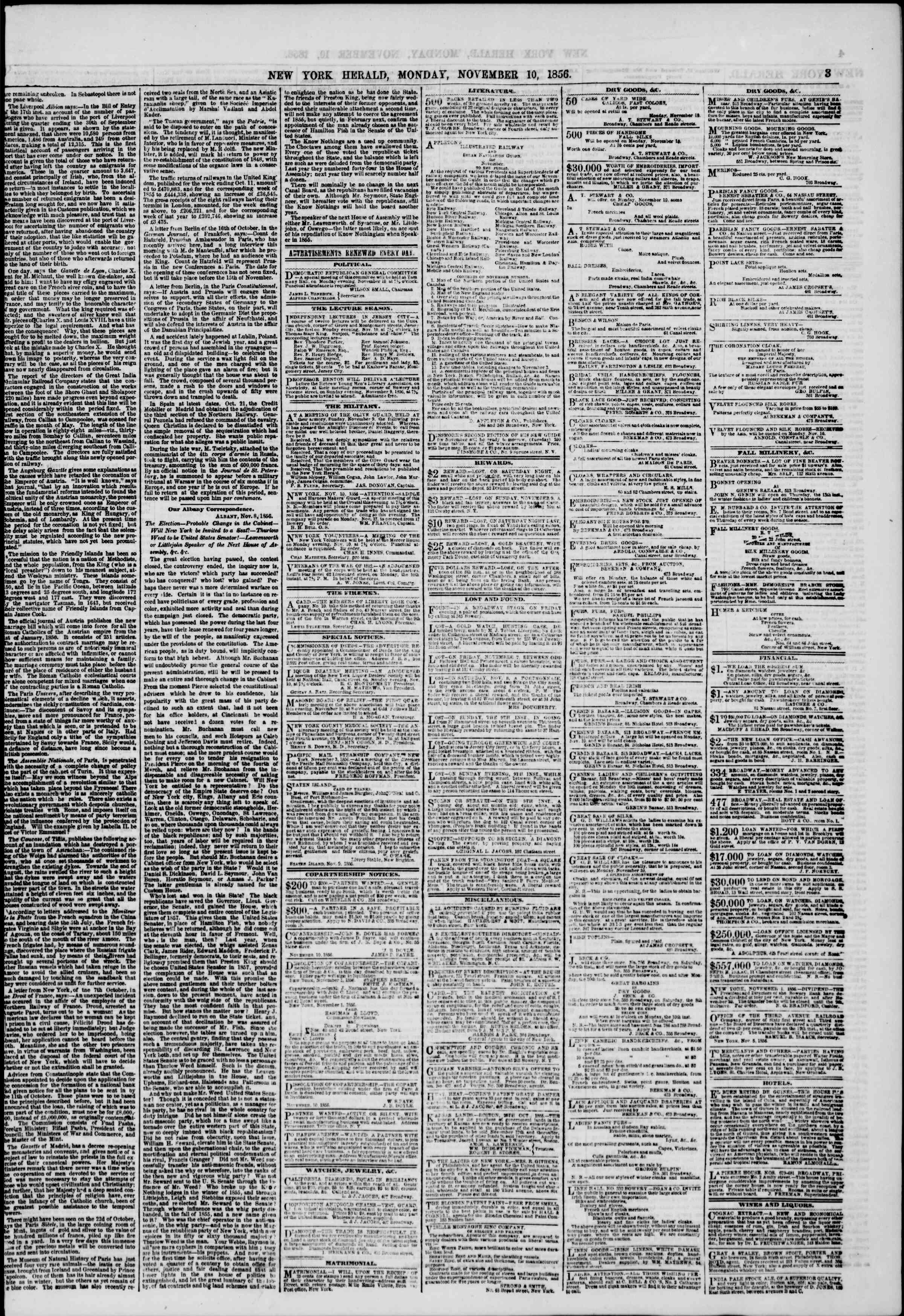Newspaper of The New York Herald dated November 10, 1856 Page 3