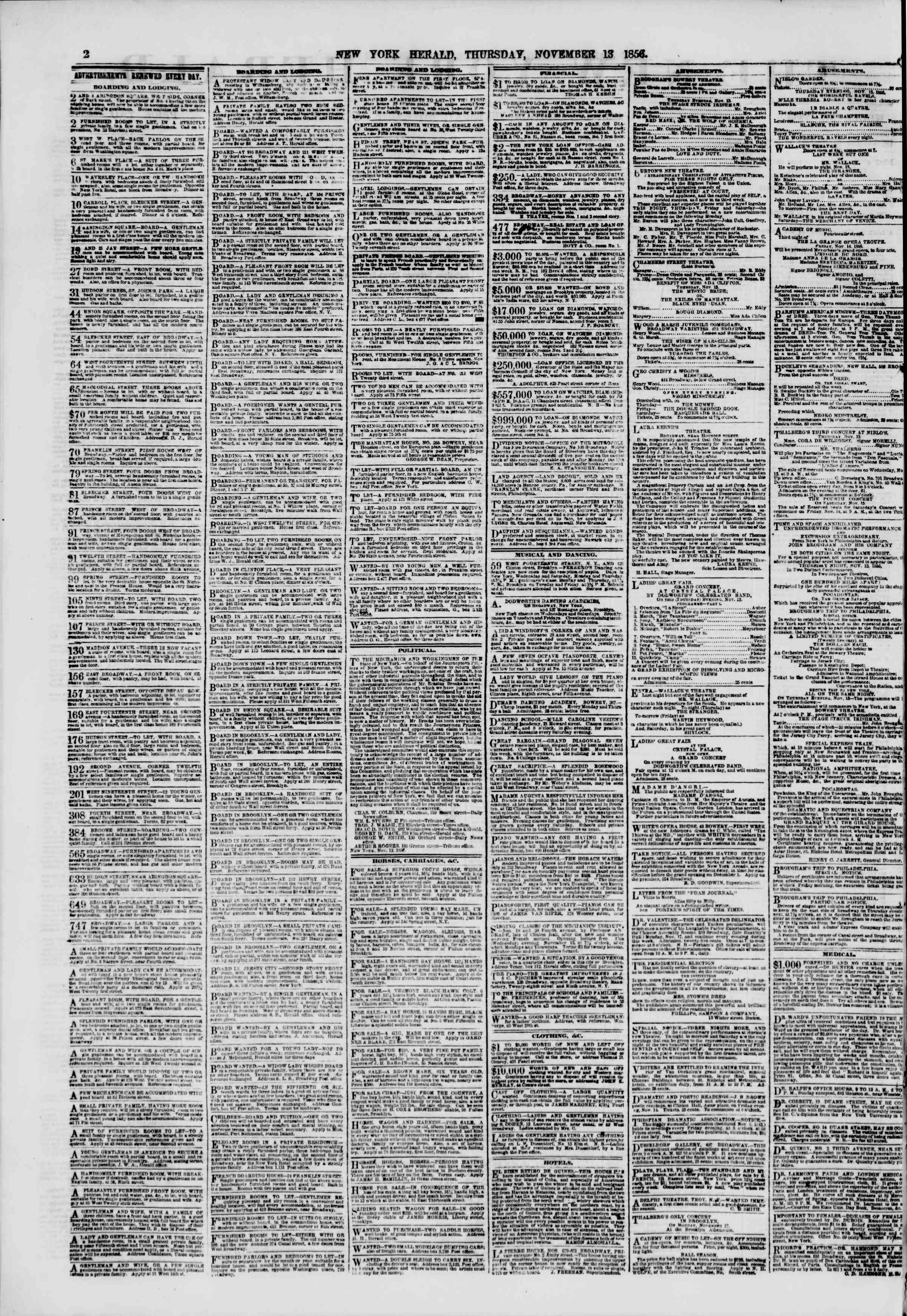 Newspaper of The New York Herald dated November 13, 1856 Page 2