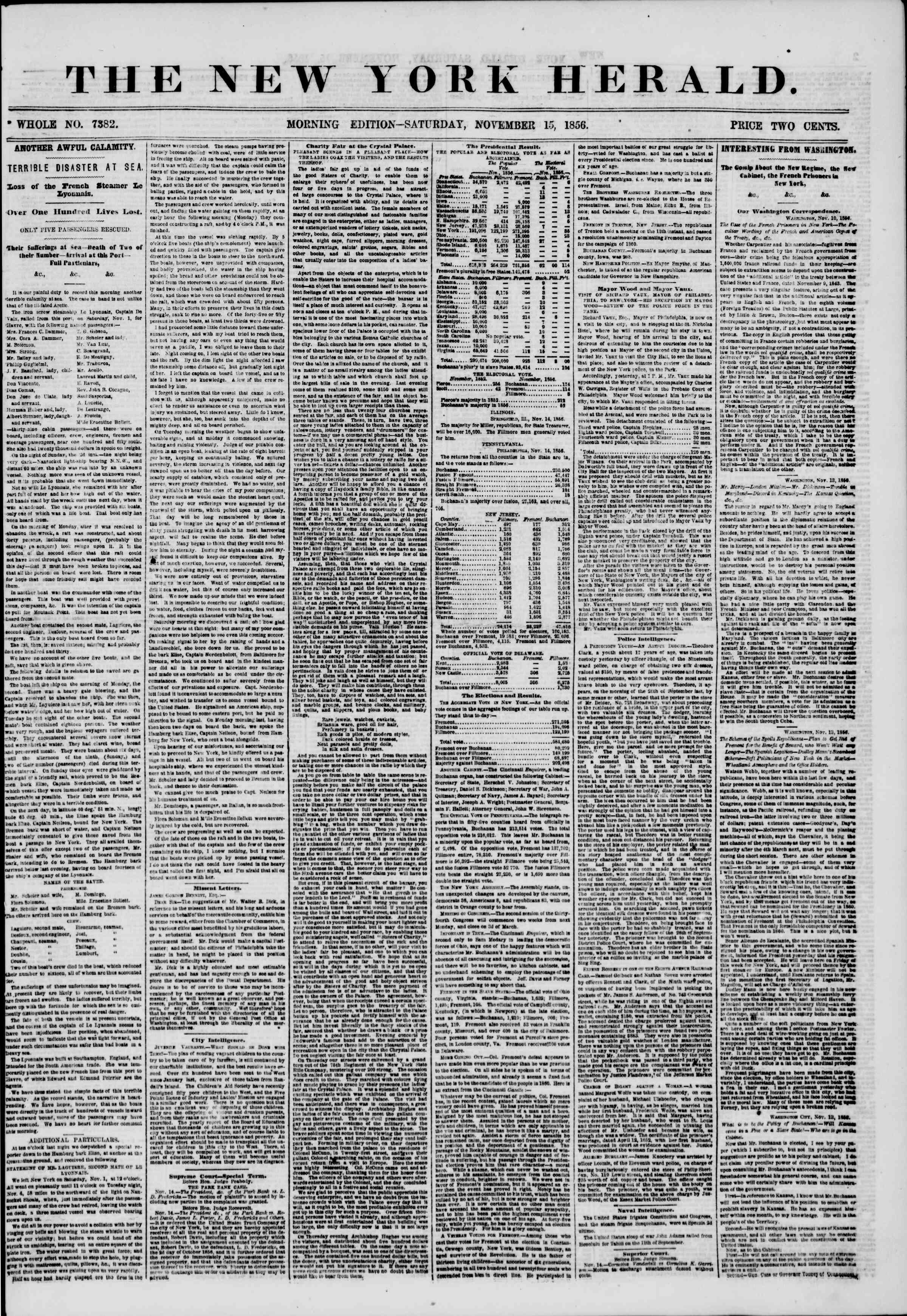 Newspaper of The New York Herald dated November 15, 1856 Page 1