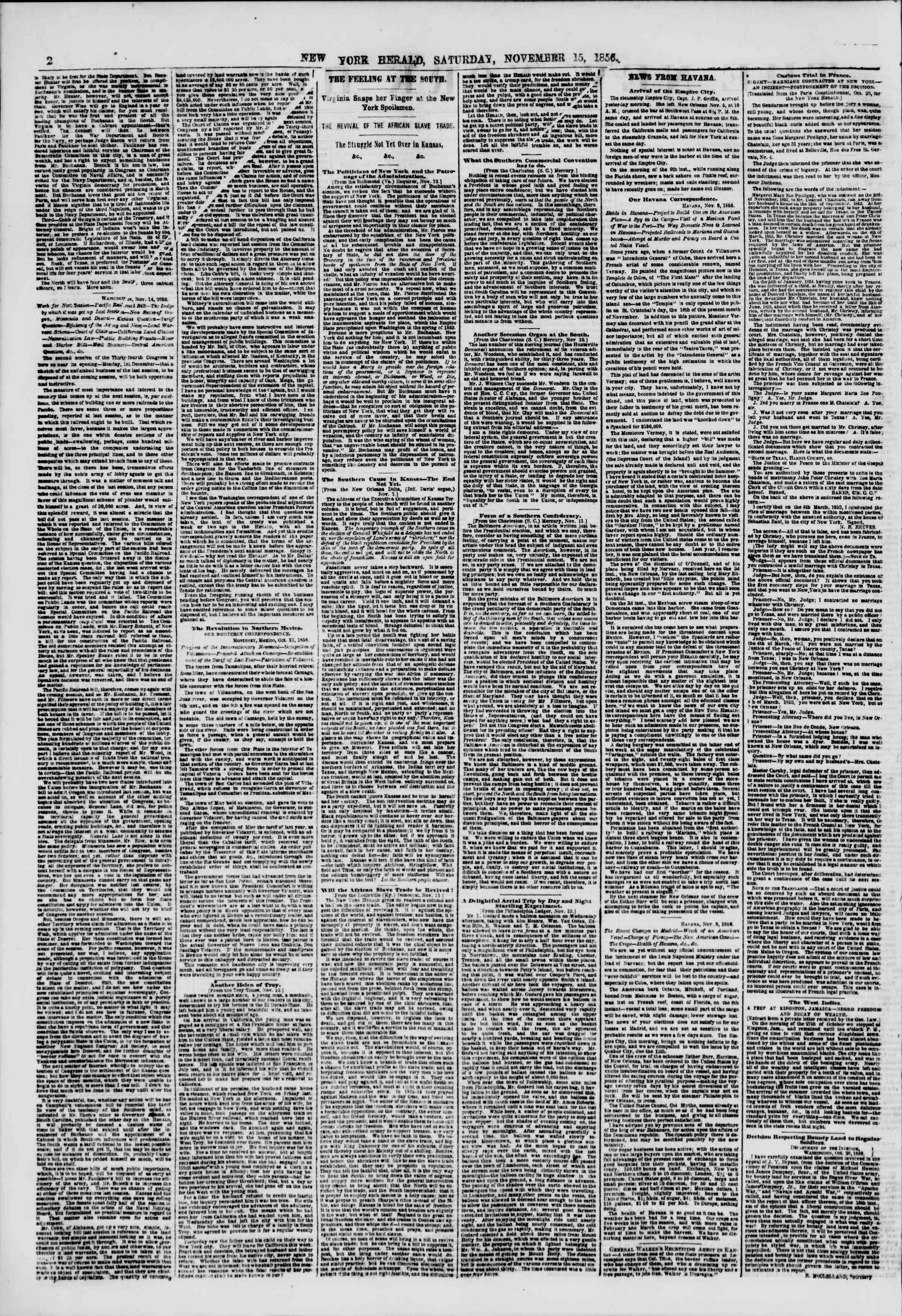 Newspaper of The New York Herald dated November 15, 1856 Page 2