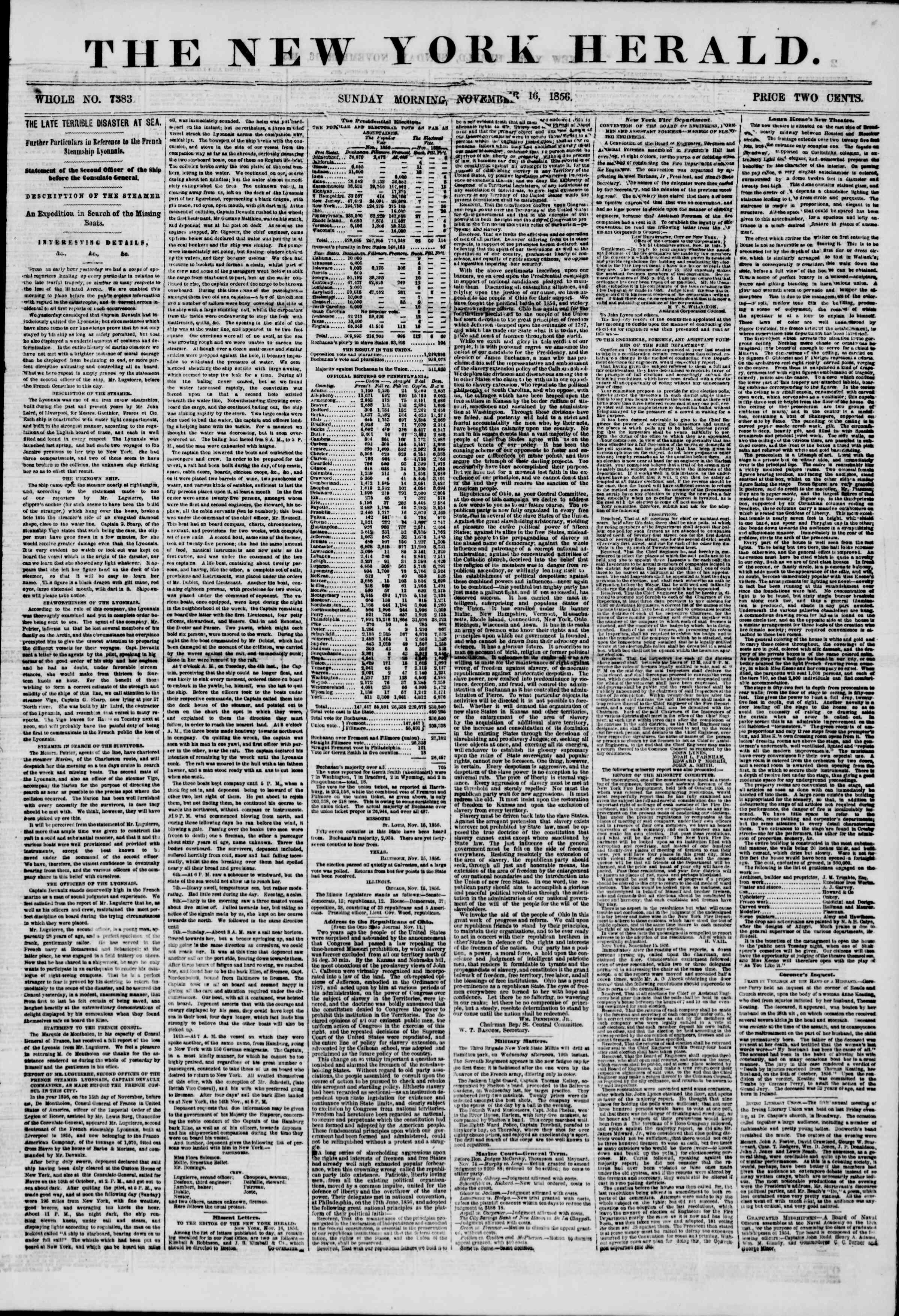 Newspaper of The New York Herald dated November 16, 1856 Page 1