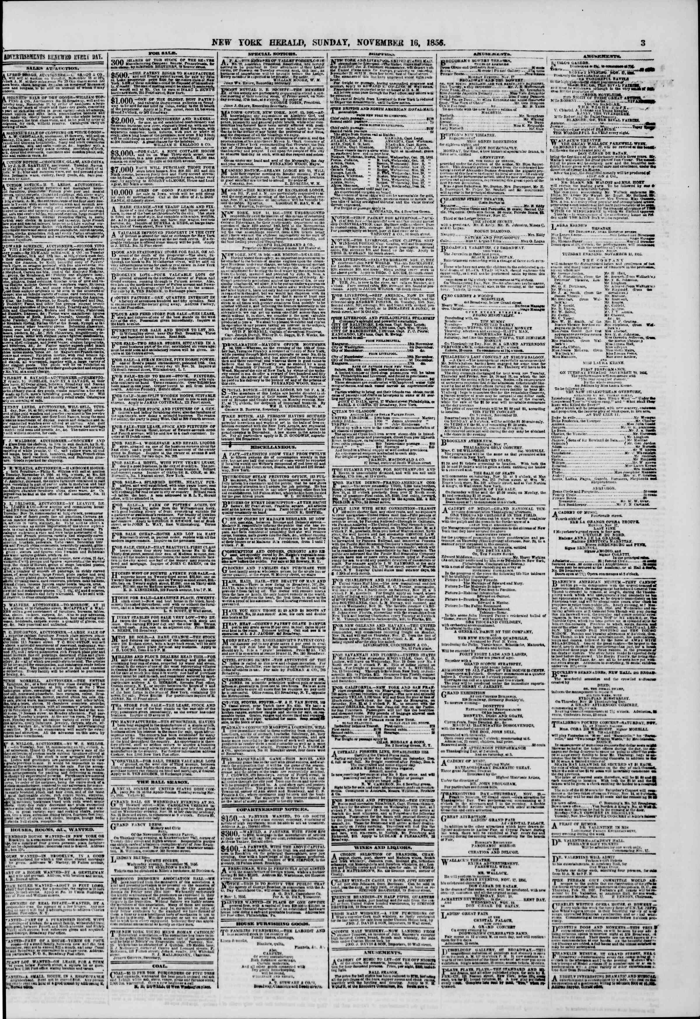Newspaper of The New York Herald dated November 16, 1856 Page 3